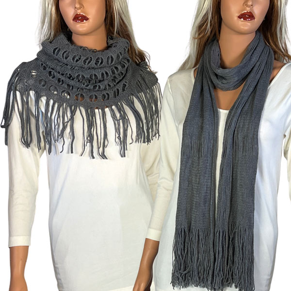 C Oblong Scarves - Long Two Way Knit Tube*