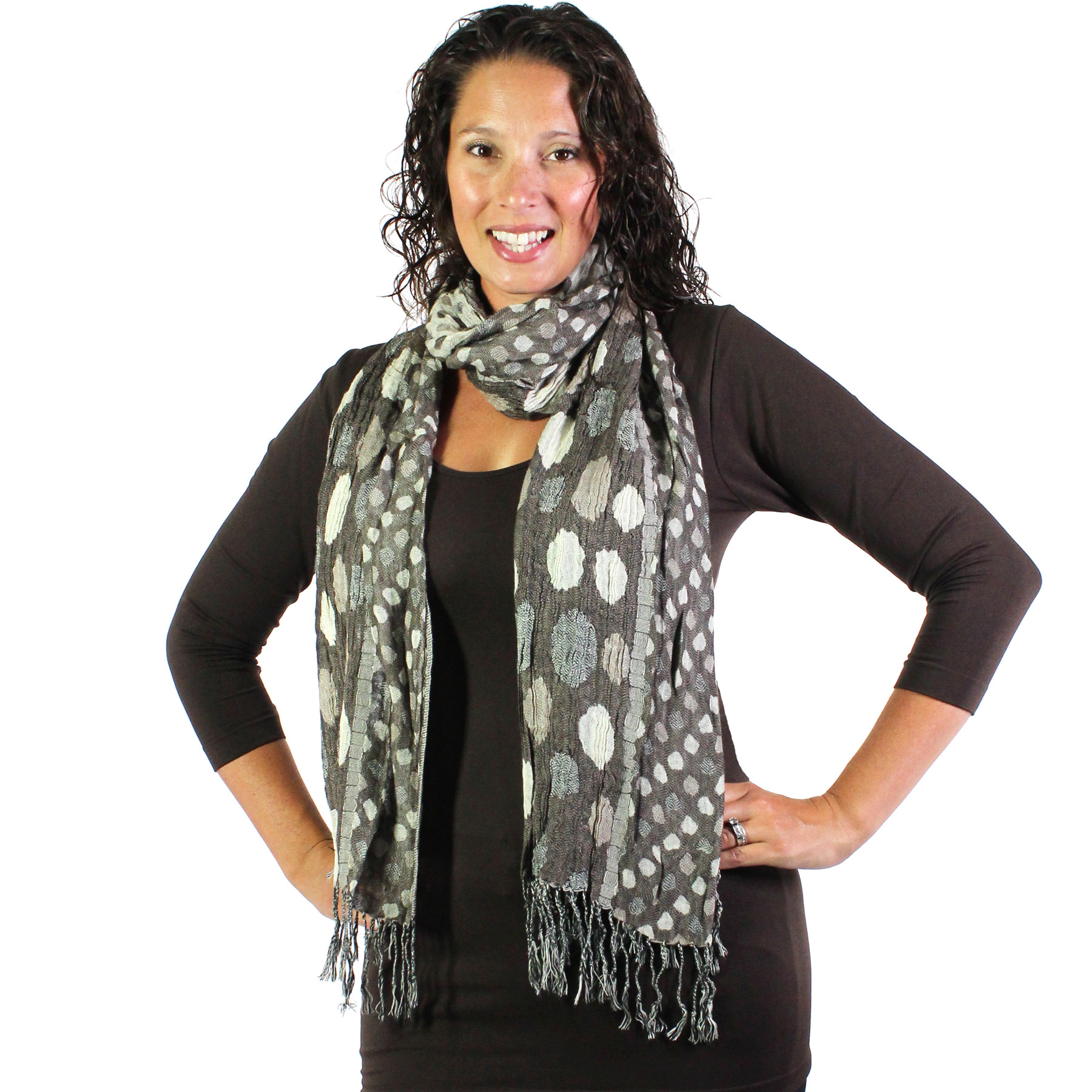 Oblong Scarves - Circles & Soft Pleats 1001