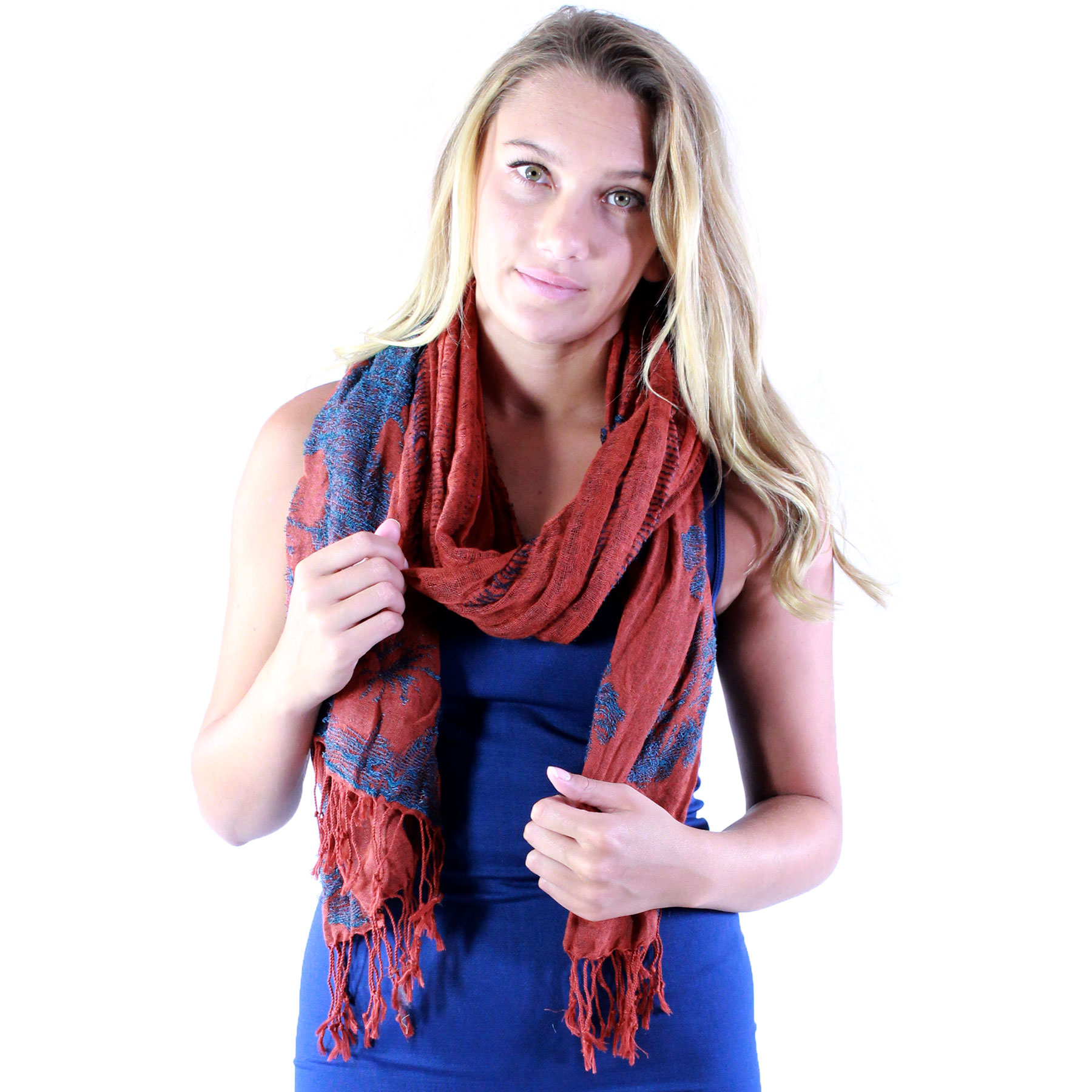 Oblong Scarves - Flower Border & Soft Pleats 1049