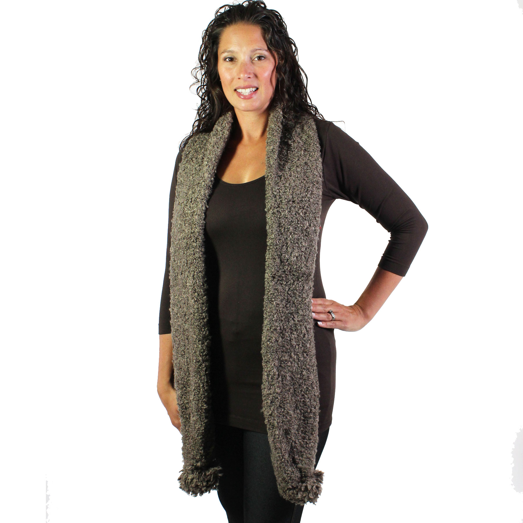 C Oblong Scarves - Shearling Pom Pom 1052