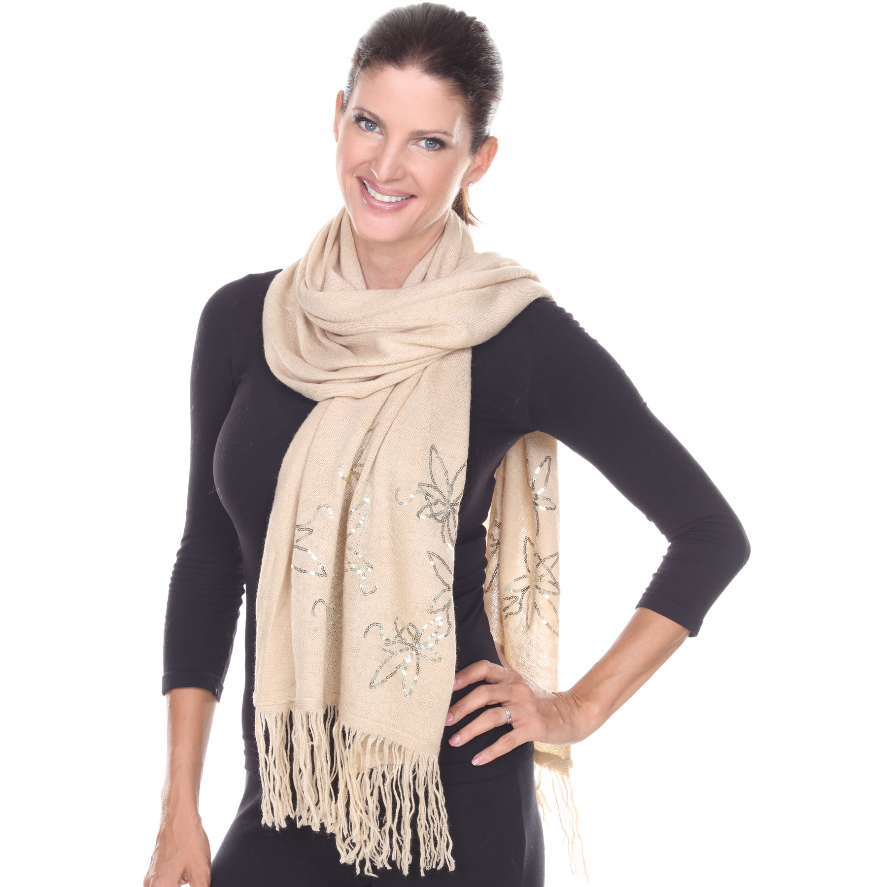 Oblong Scarves - Sequined Cashmere Feel*