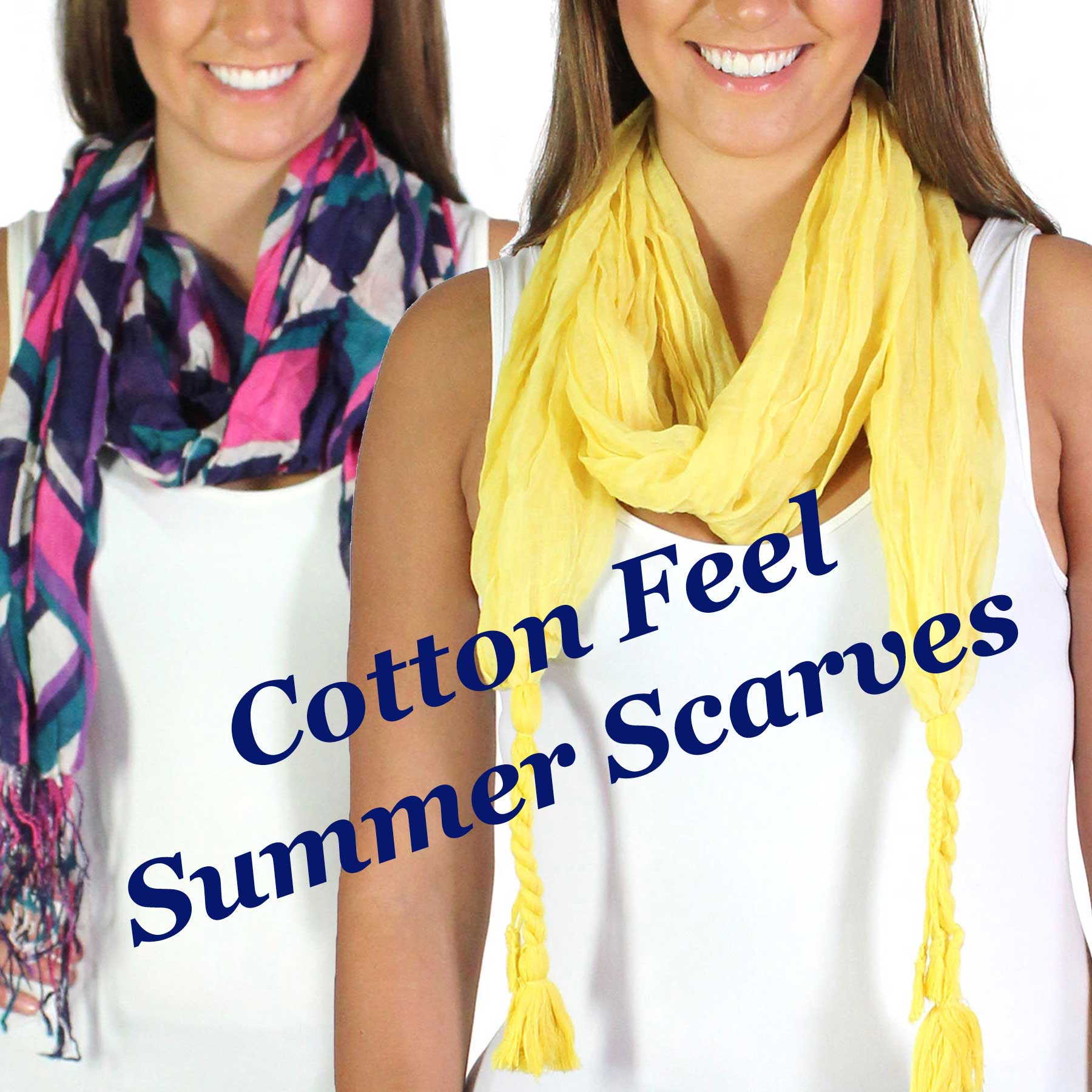 Cotton Feel Oblong Summer Scarves