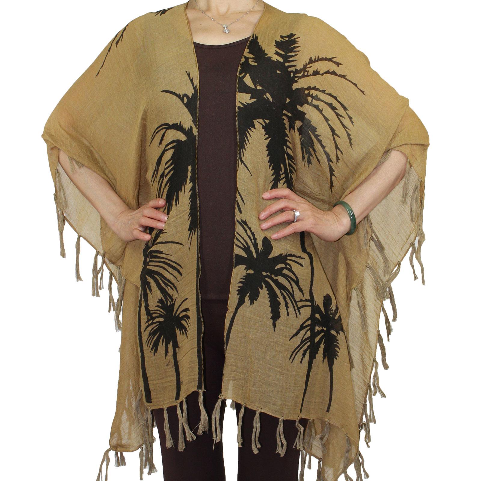 Kimono Tasseled - Palm Tree Print X004