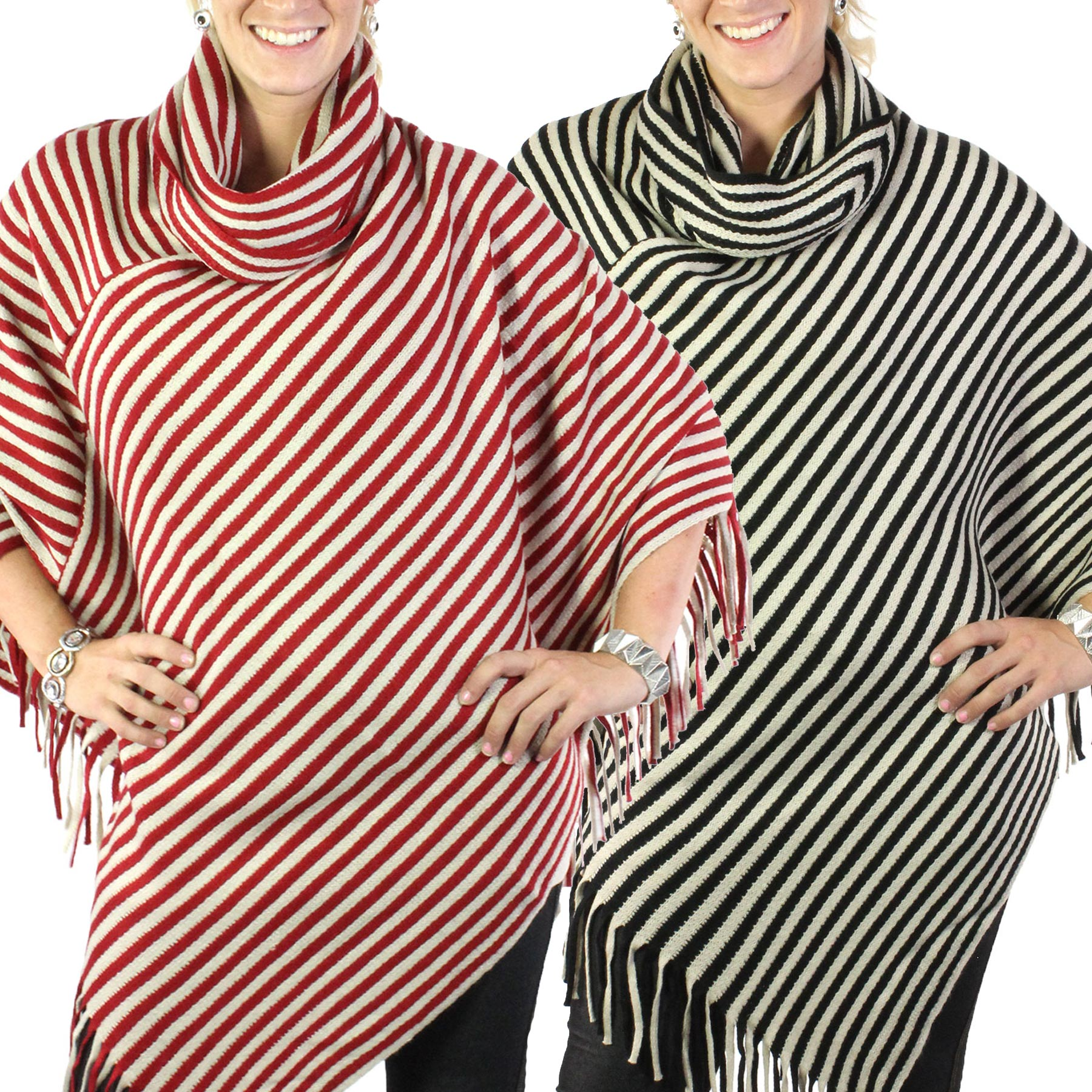 C Poncho - Cowl Neck Striped 8120
