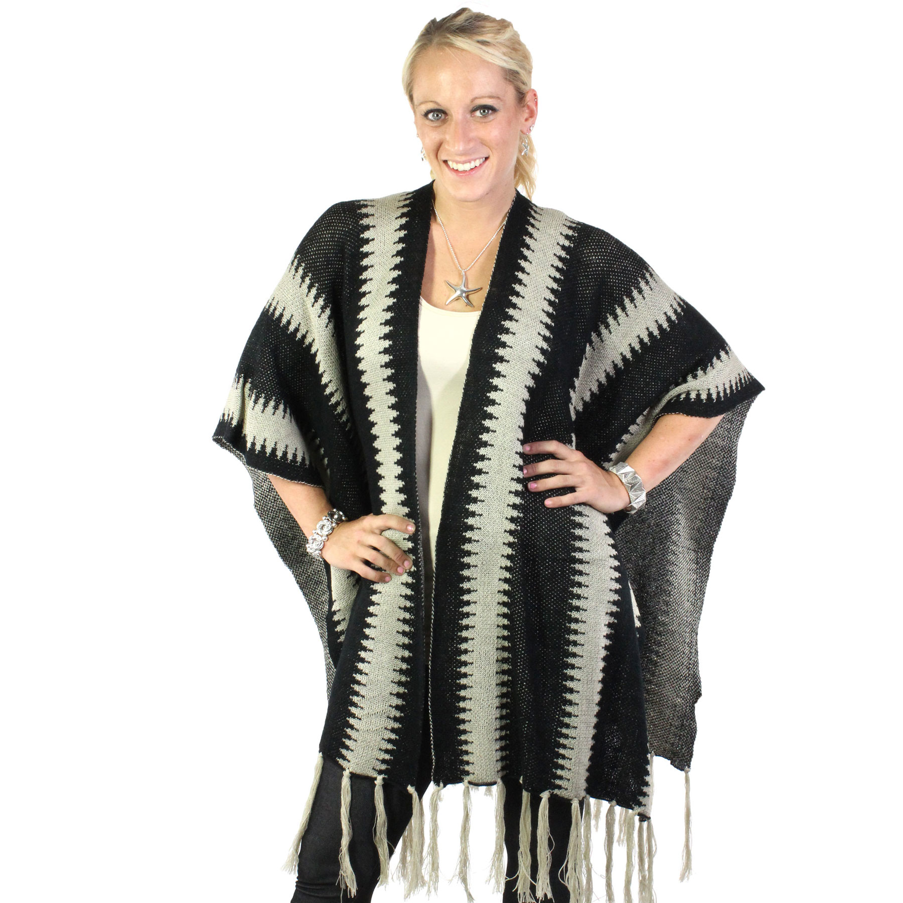 Ruana Capes - Two Tone Knit w/ Tassel 8644