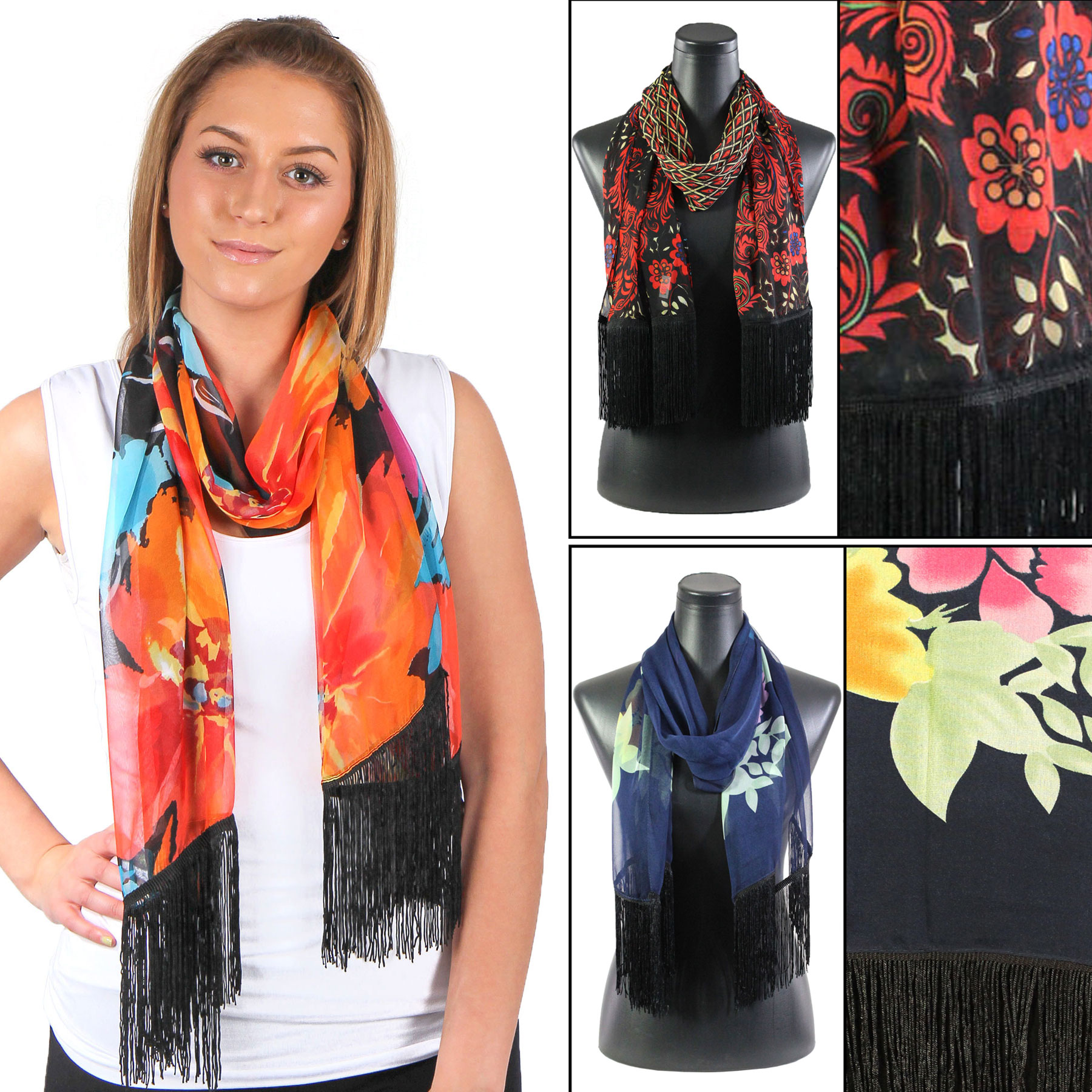 Silky Dress Scarves w/ Fringe