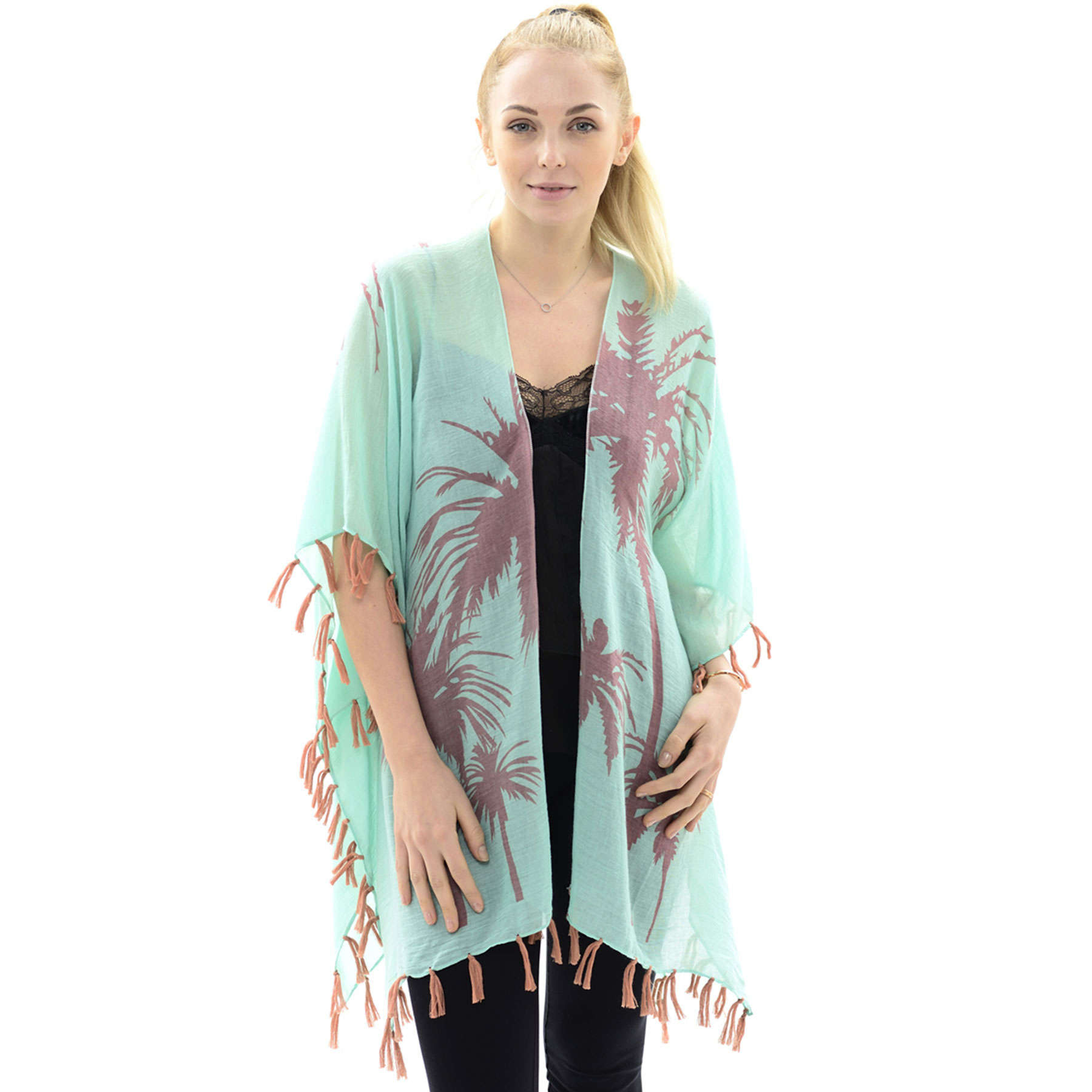 Kimono Tasseled - Palm Tree JP597