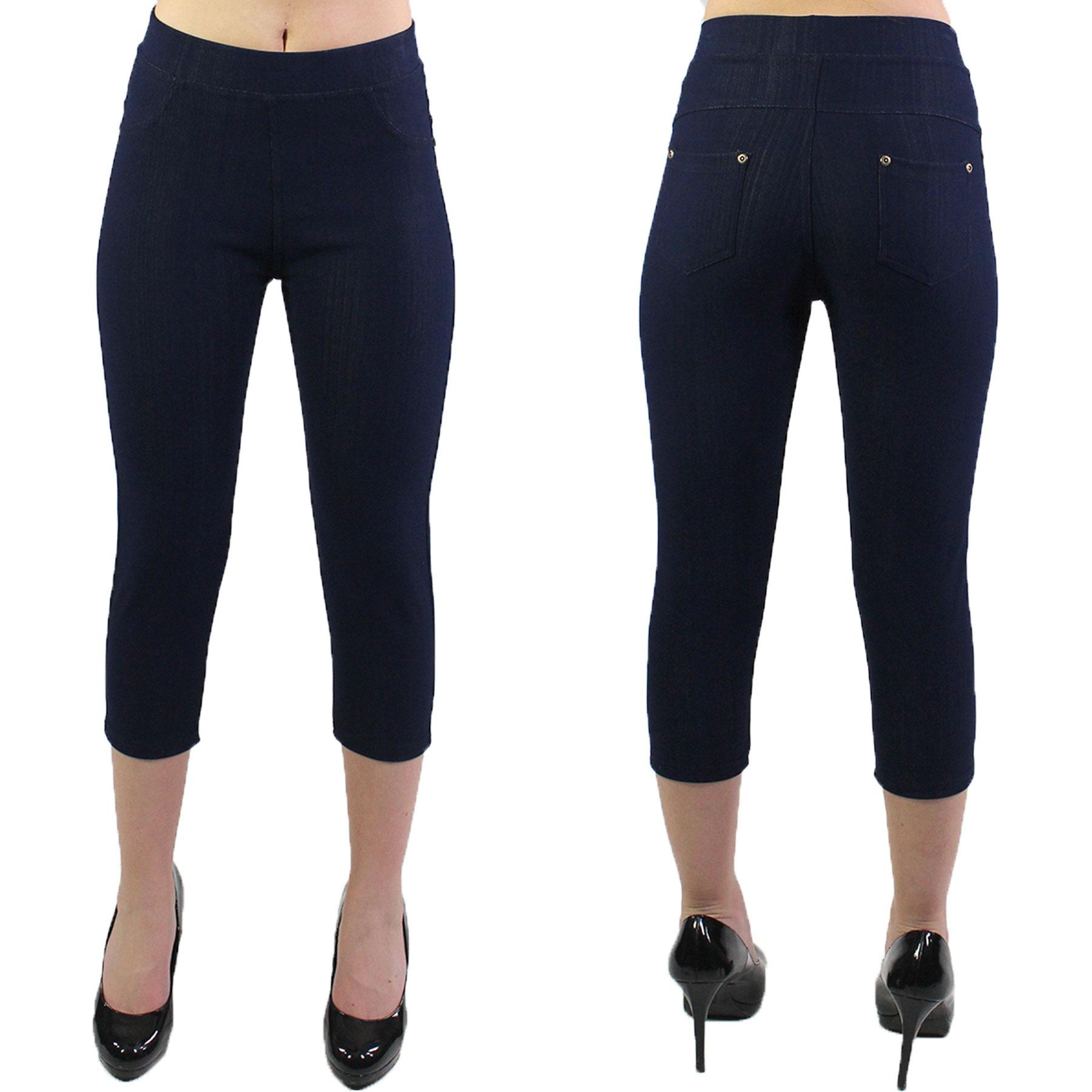Denim Leggings - Capri Length w/ Back Pockets J04