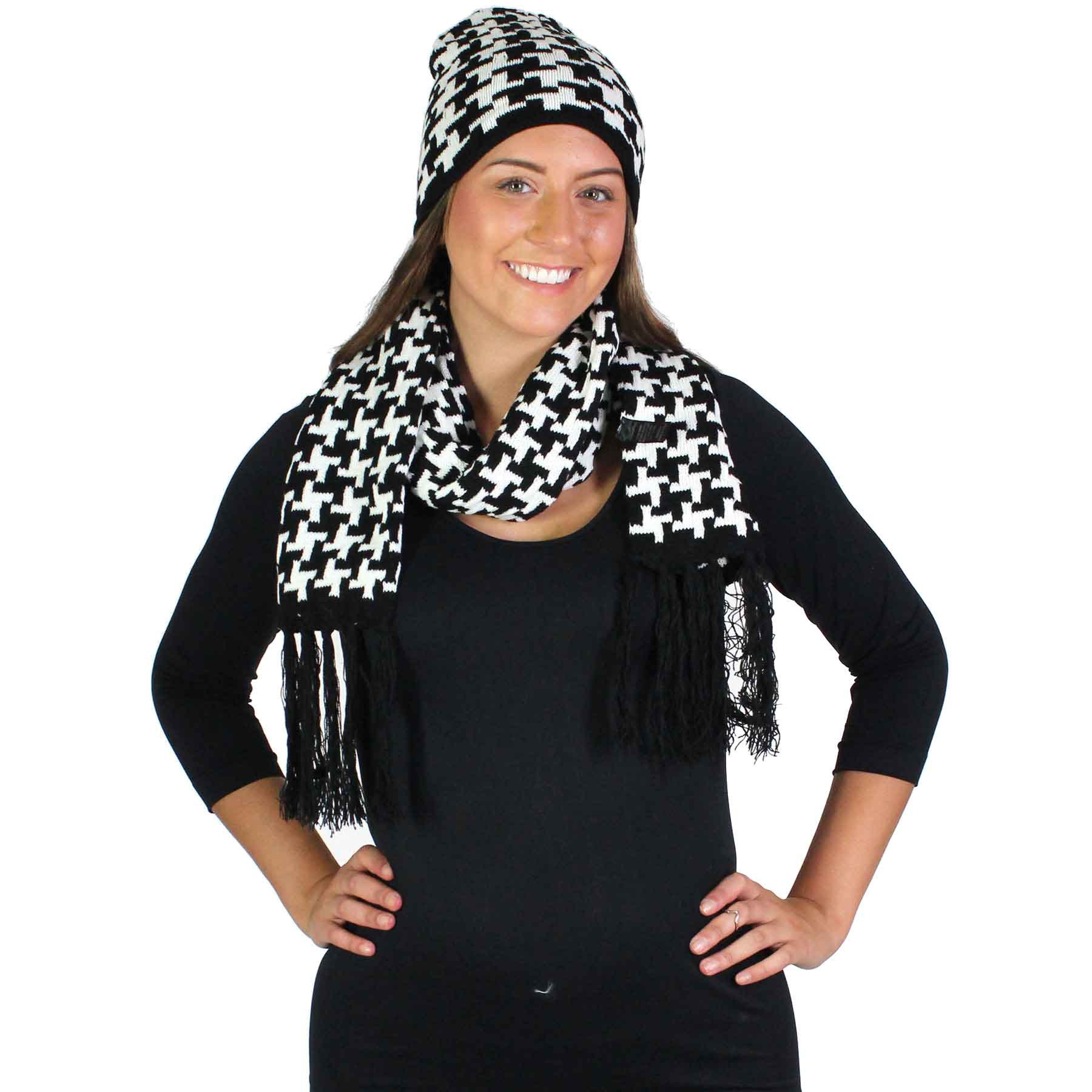 Scarf & Hat Set - Acrylic Black & White