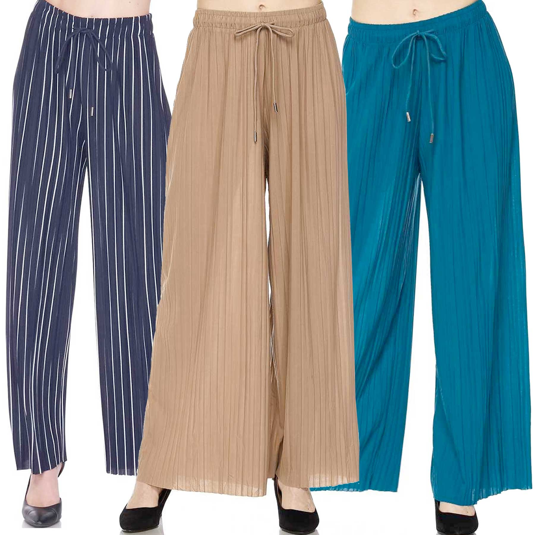 Pleated Wide Leg Pants - Georgette 902