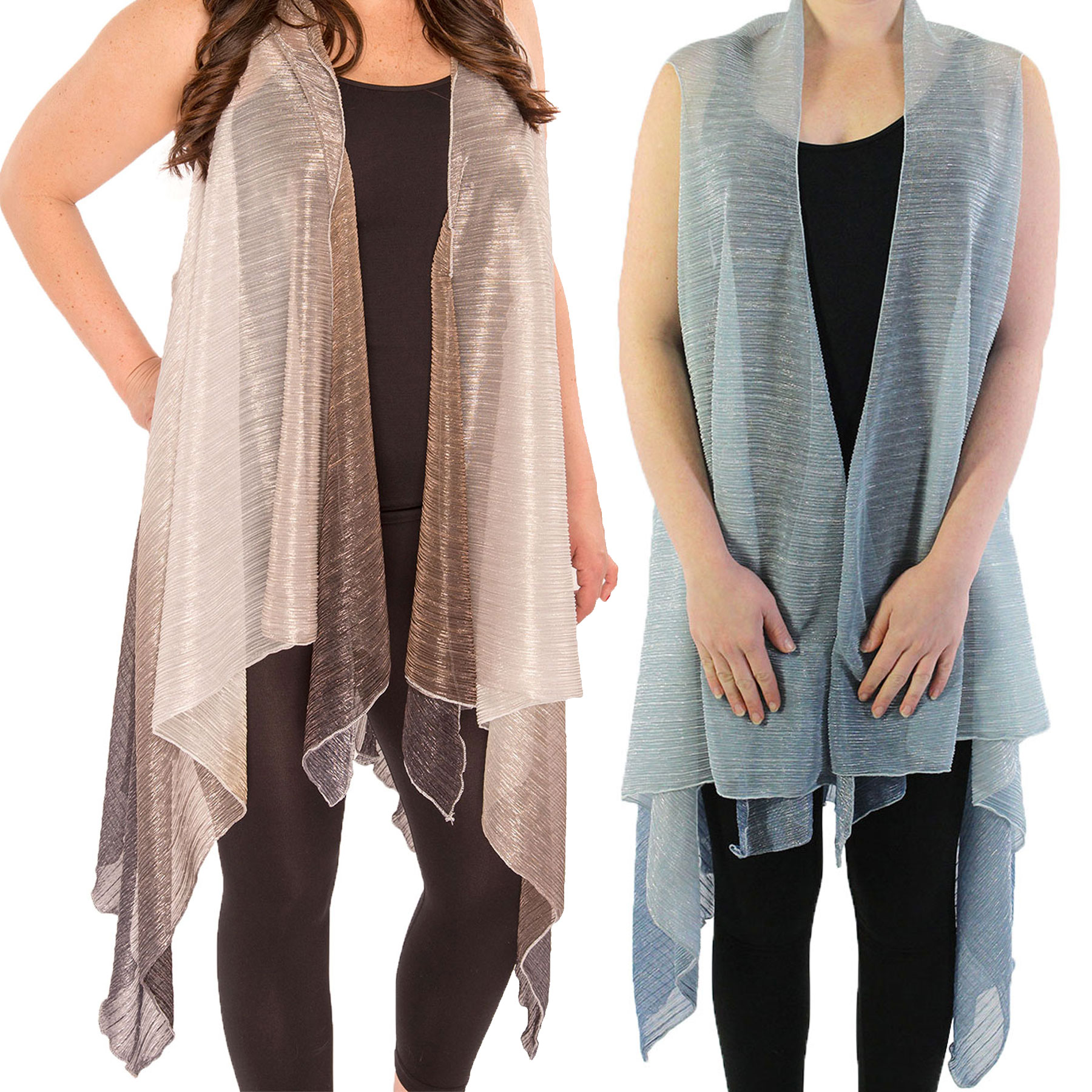 Vests - Metallic Ombre Pleated 8911