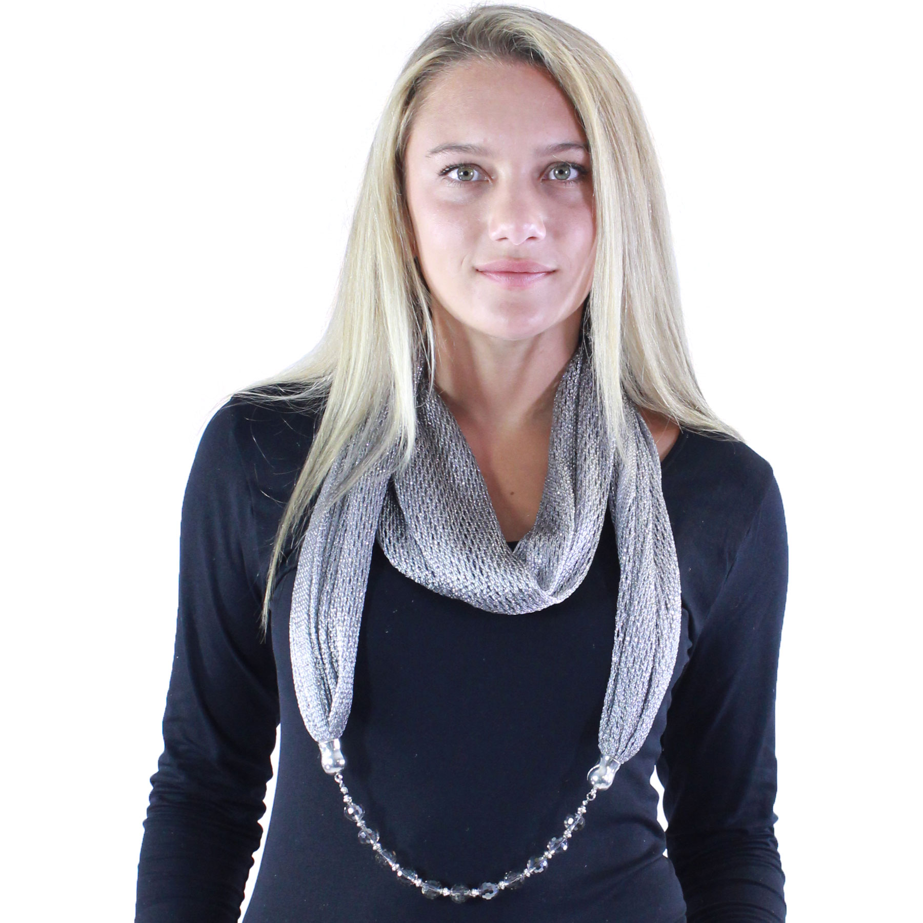Infinity Scarves - Metallic w/ Jewelry
