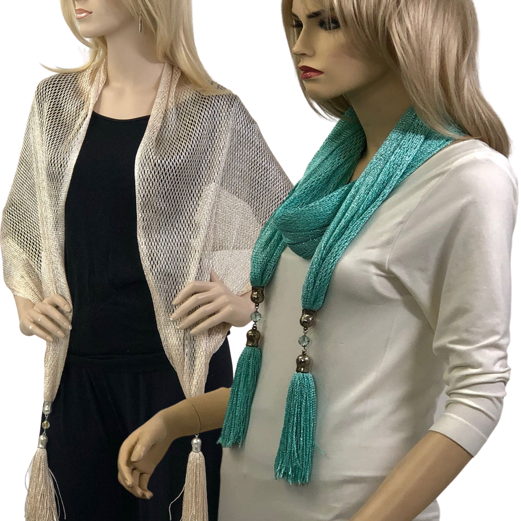 Oblong Scarves - Metallic w/ Jewelry MFNJ