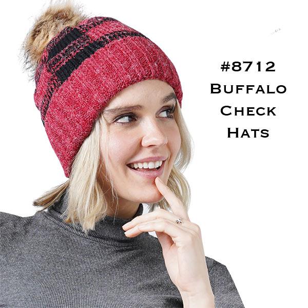 Knit Hat - Buffalo Check Pattern 8712