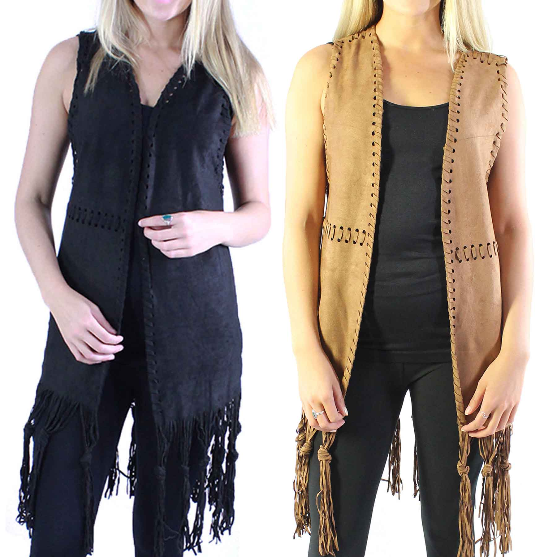 Vests - Faux Suede Tasseled 8642