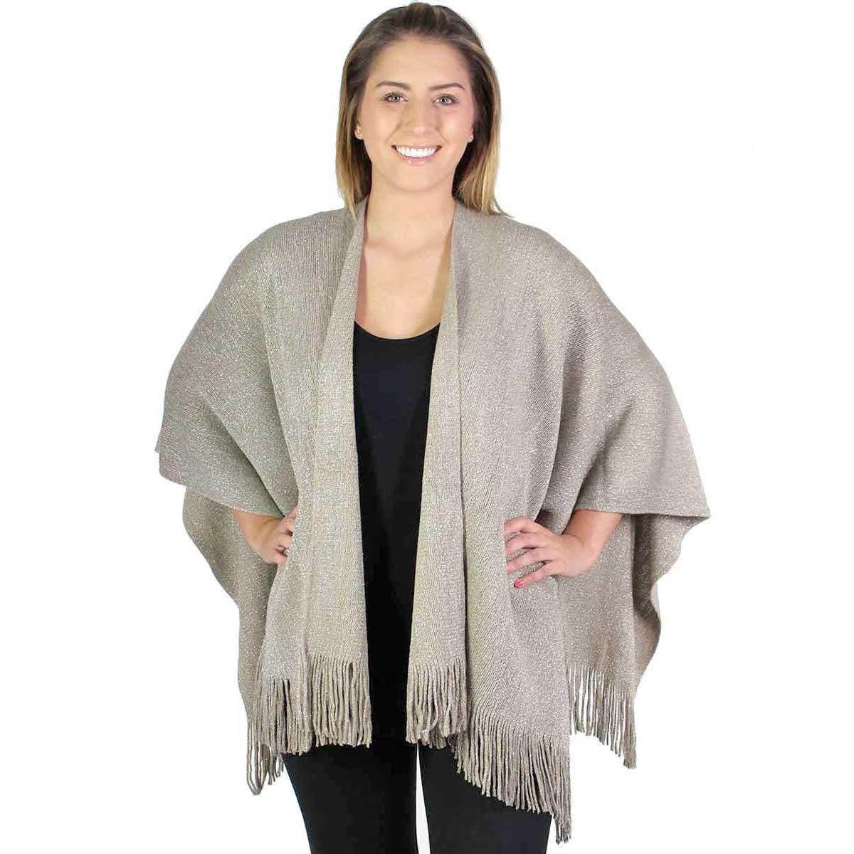 Fall/Winter Ruana Capes - Knit Metallic 2968