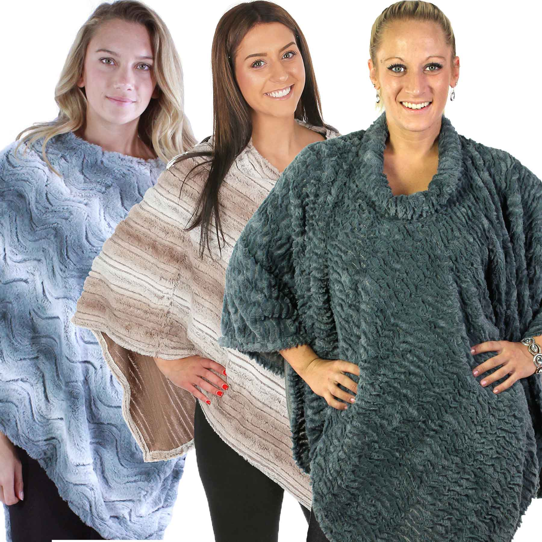 Winter Ponchos - Faux Fur Designs