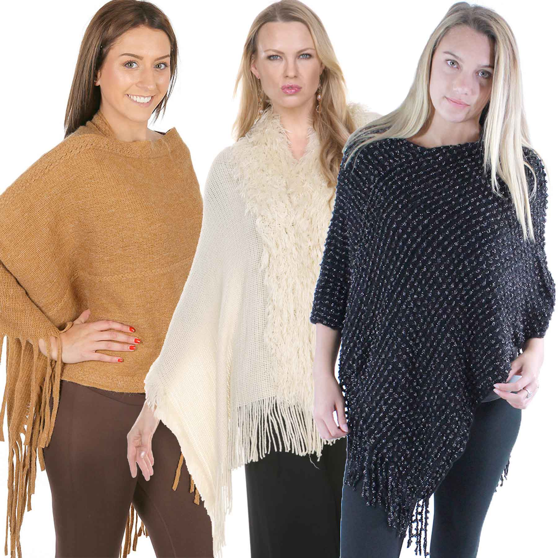 Winter Ponchos - Solid and Multi Color