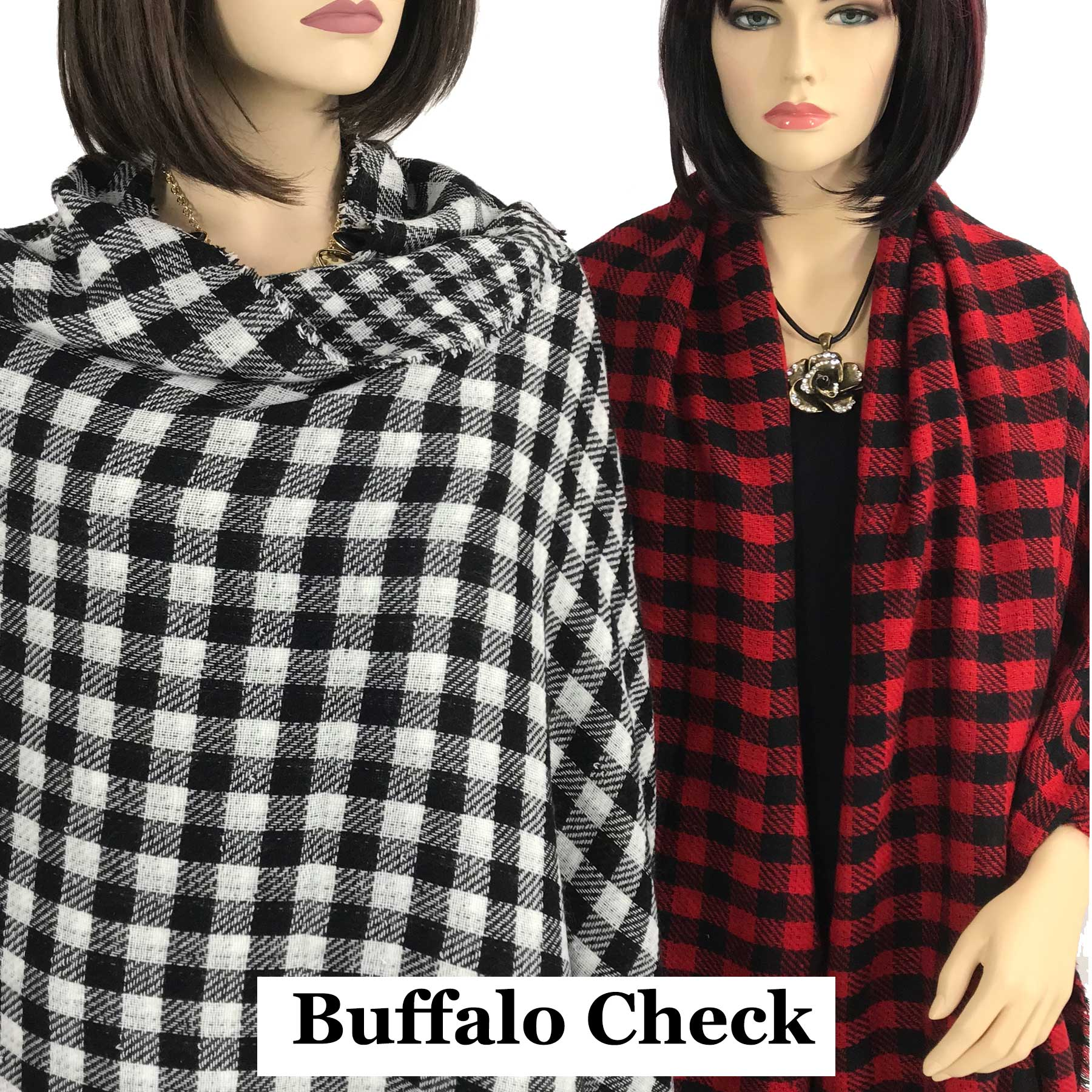 Oblong Scarves/Shawls - Buffalo Check 9088