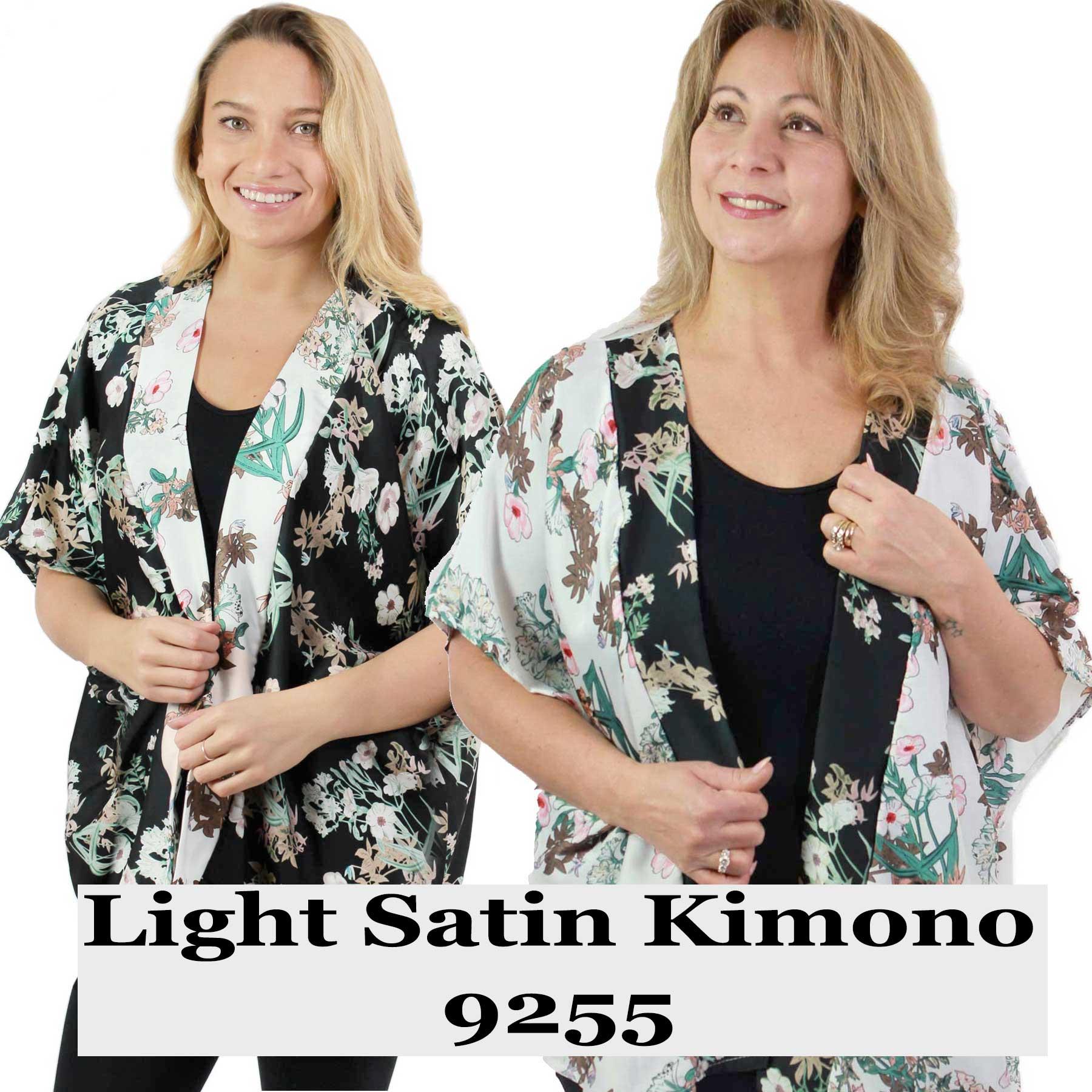 Kimono - Light Satin - Flower Print 9255