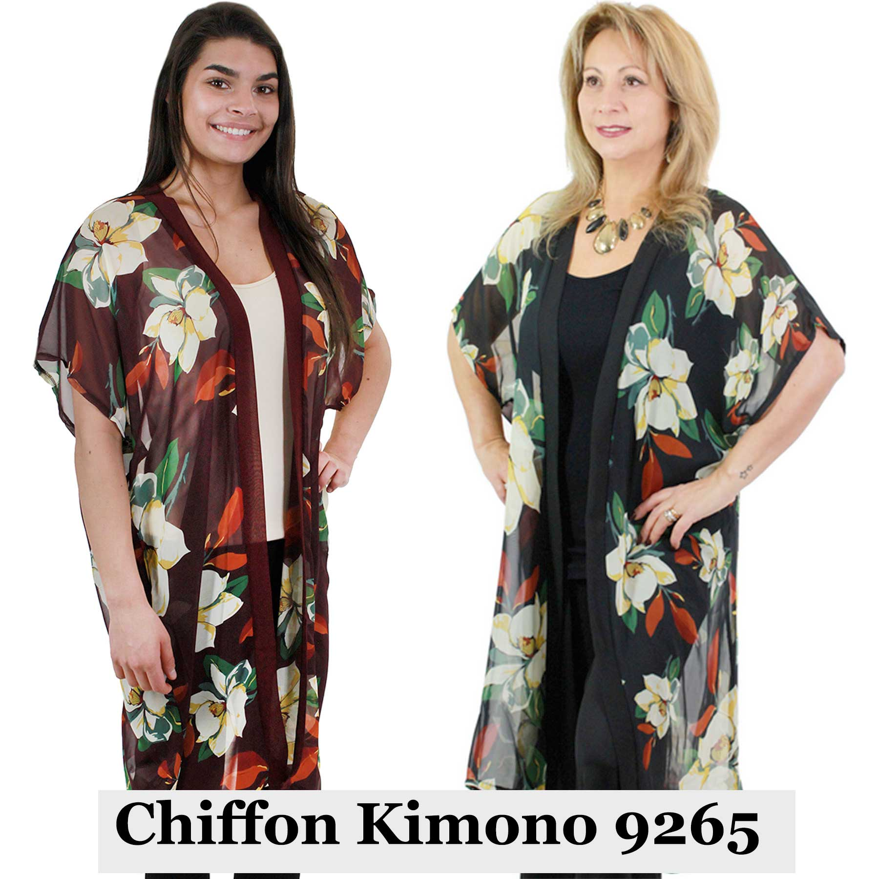 Chiffon Kimono - Flower Print 9265