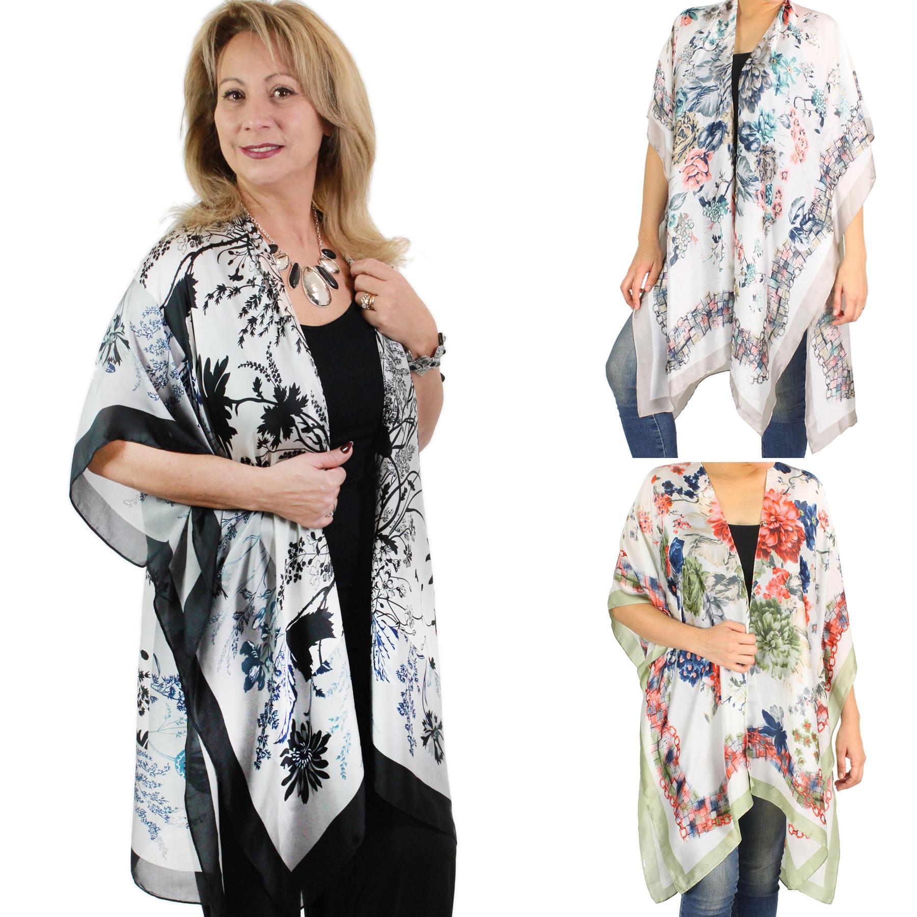 Satin Kimono - Flower Print 9286 & 9287