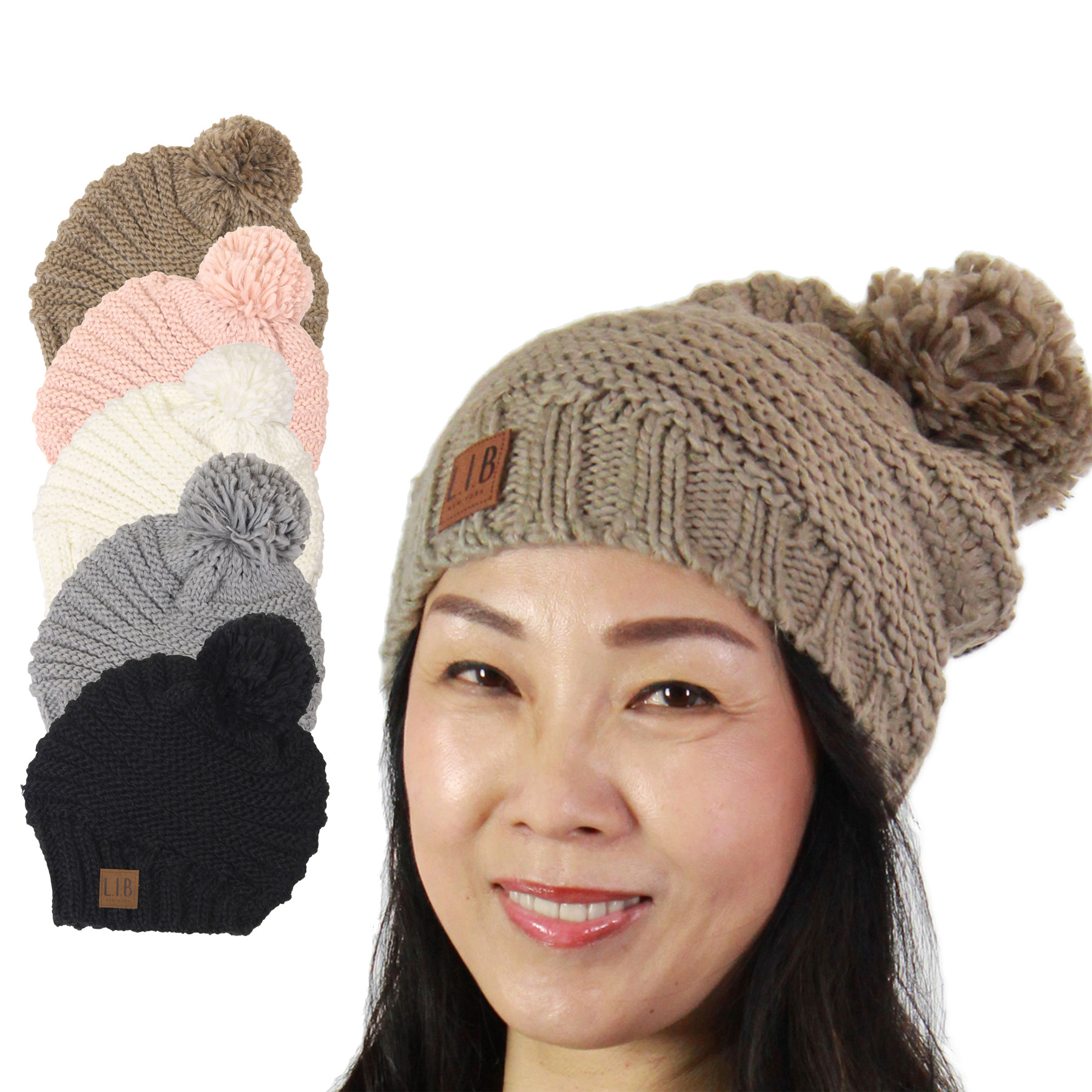 Hats - Stripe Knit with Pom Pom 9180