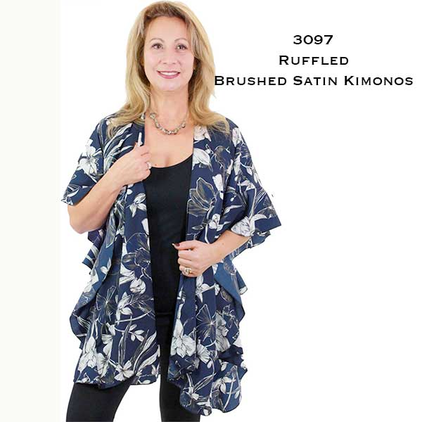 Ruffled Brushed Satin Kimonos 1262 1263