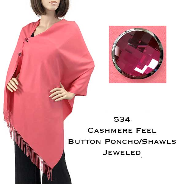Button Poncho/Shawl-Cashmere Feel Jeweled Buttons