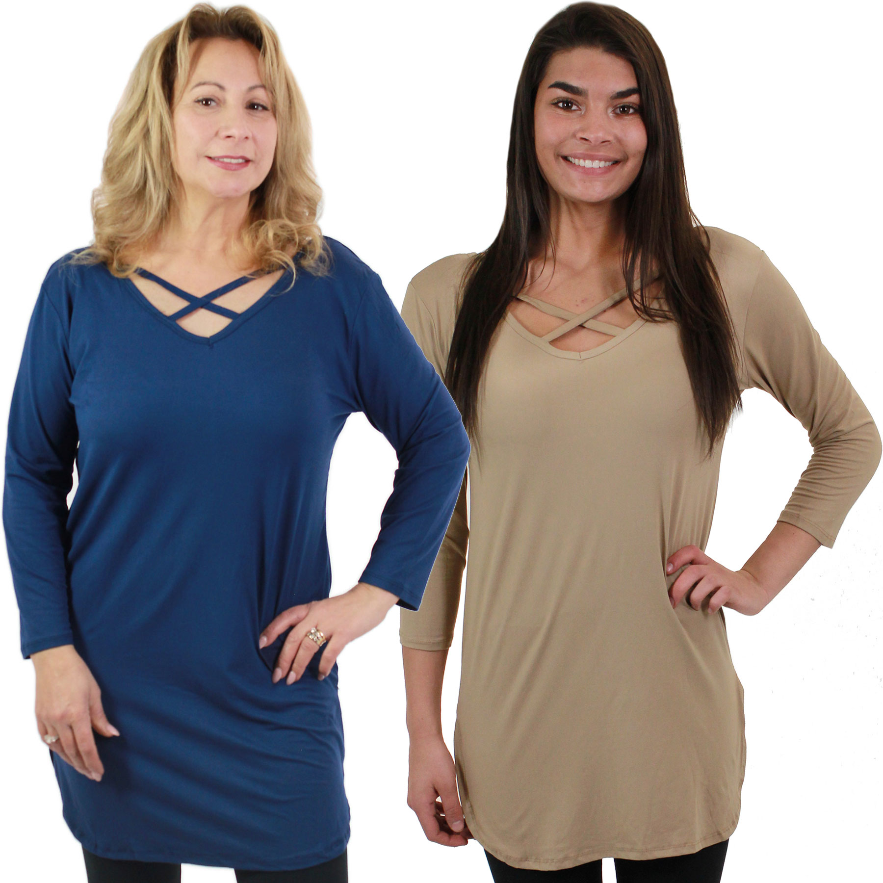 Brushed Fiber Criss Cross Tunic Tops