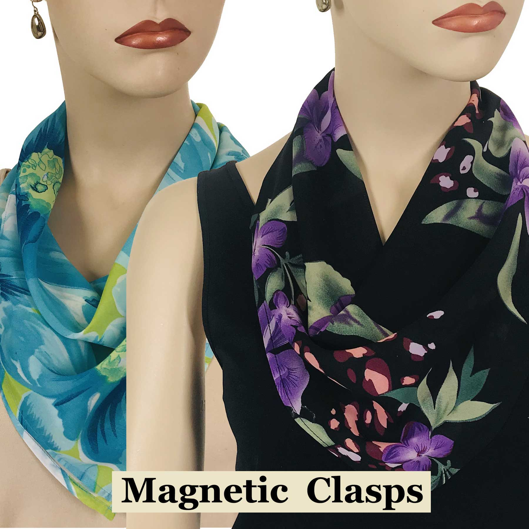 Magnetic Clasp Scarves (Georgette Triangle)