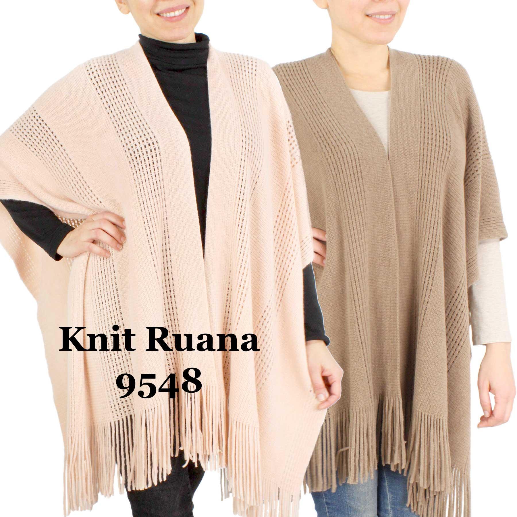 Ruana Capes - Knit Solid Color 9548