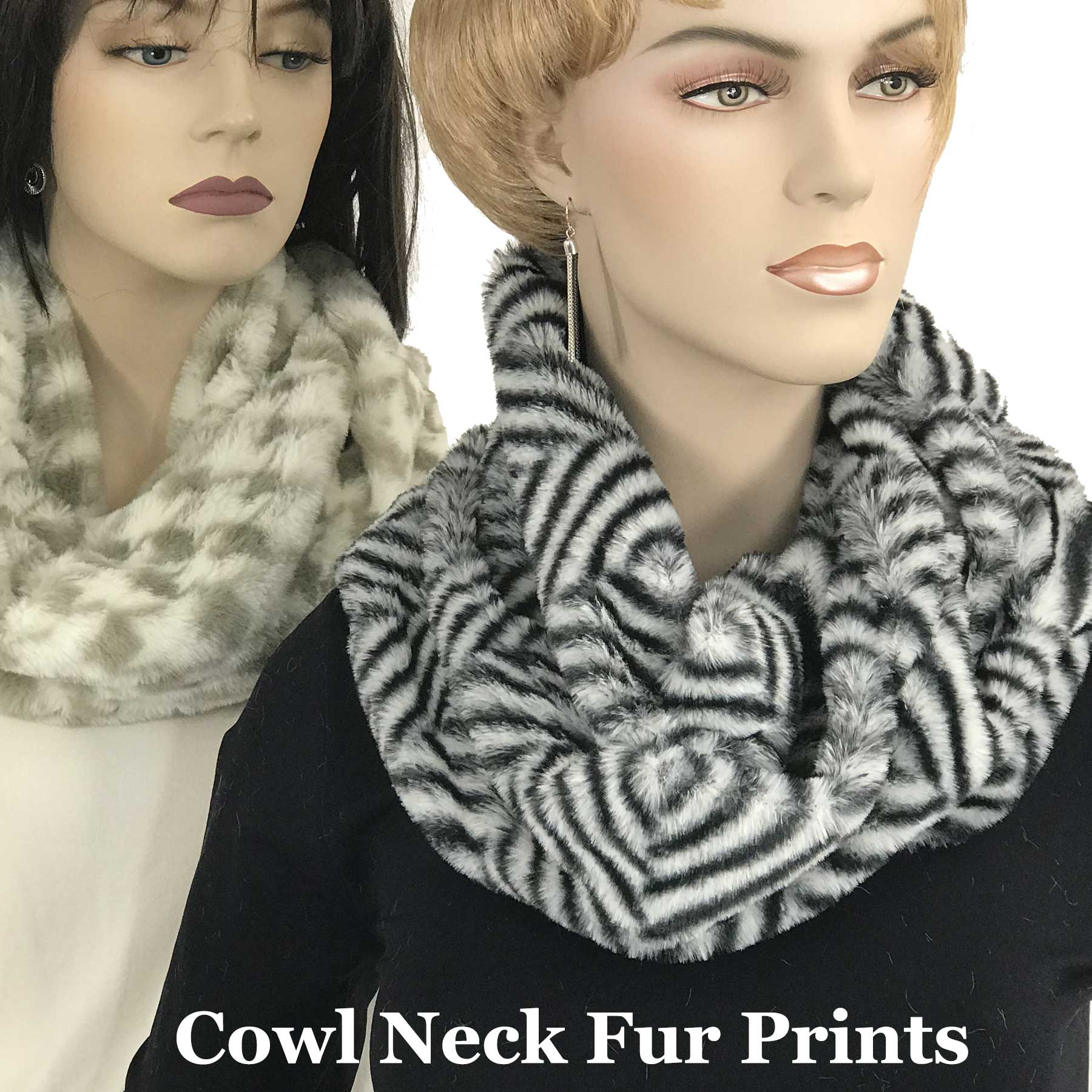 Faux Fur Cowl Neck Scarves