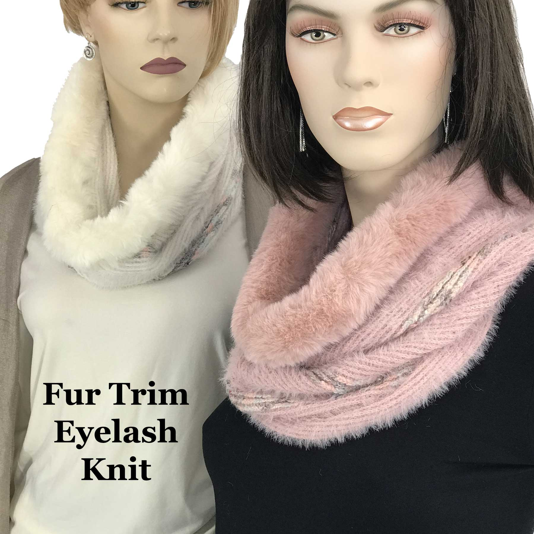 Cowl Neck Scarves - Fur Trim Eyelash Knit 9493