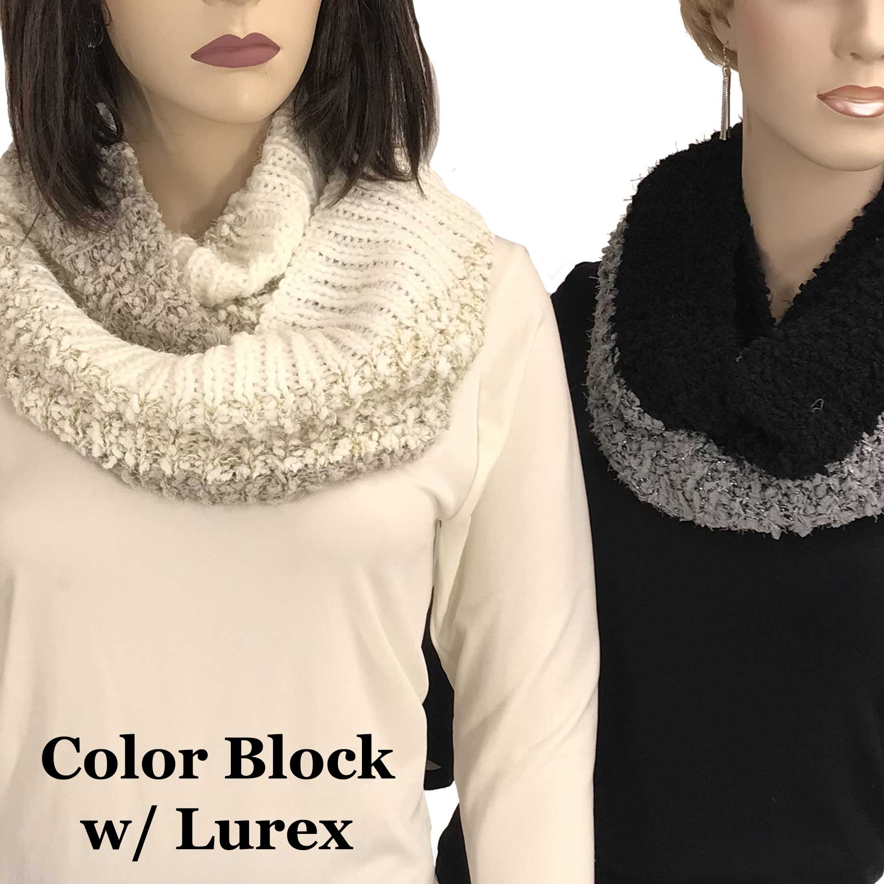 Infinity Scarves - Color Block w/ Lurex 9494