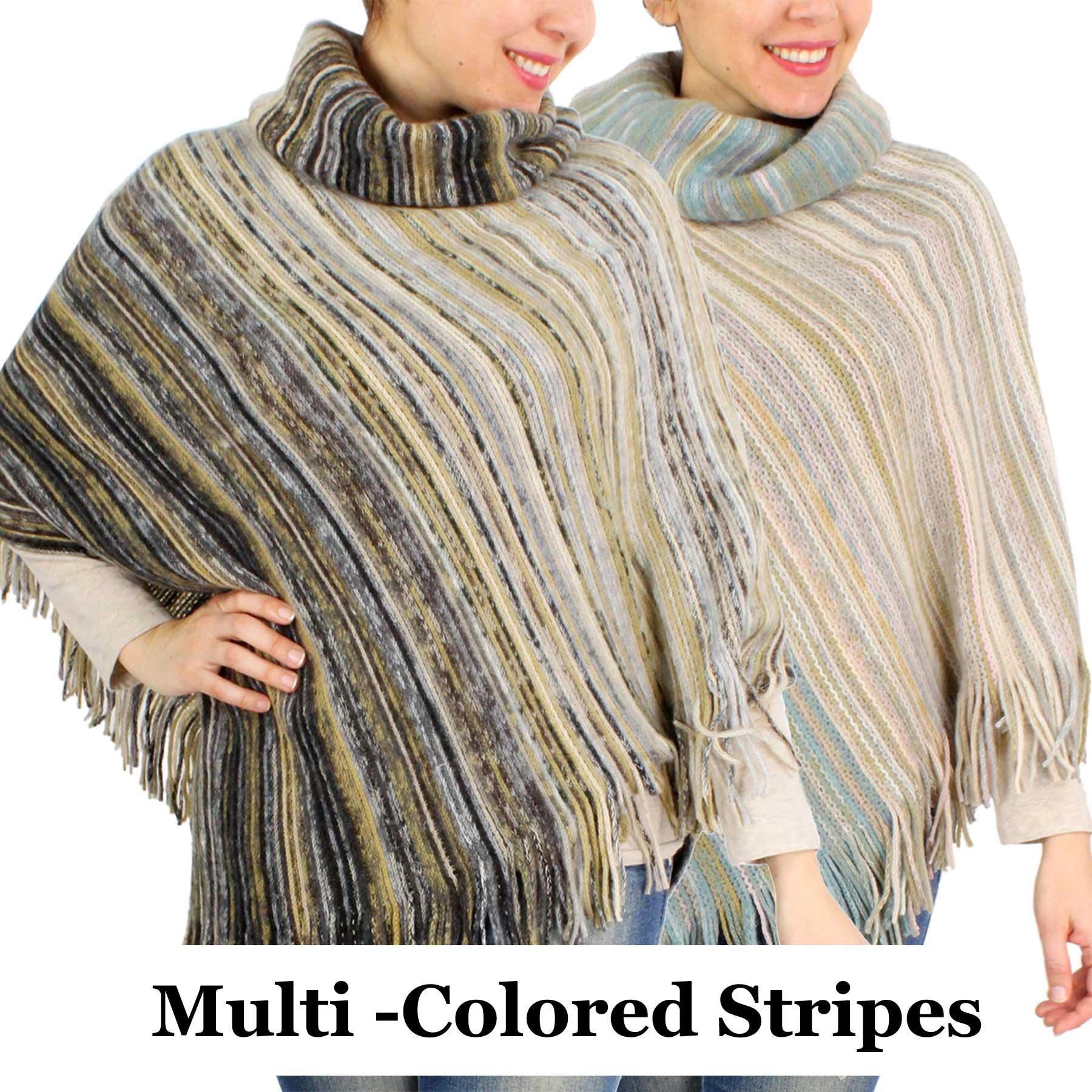 Poncho - Striped Multi Color Knit 9387