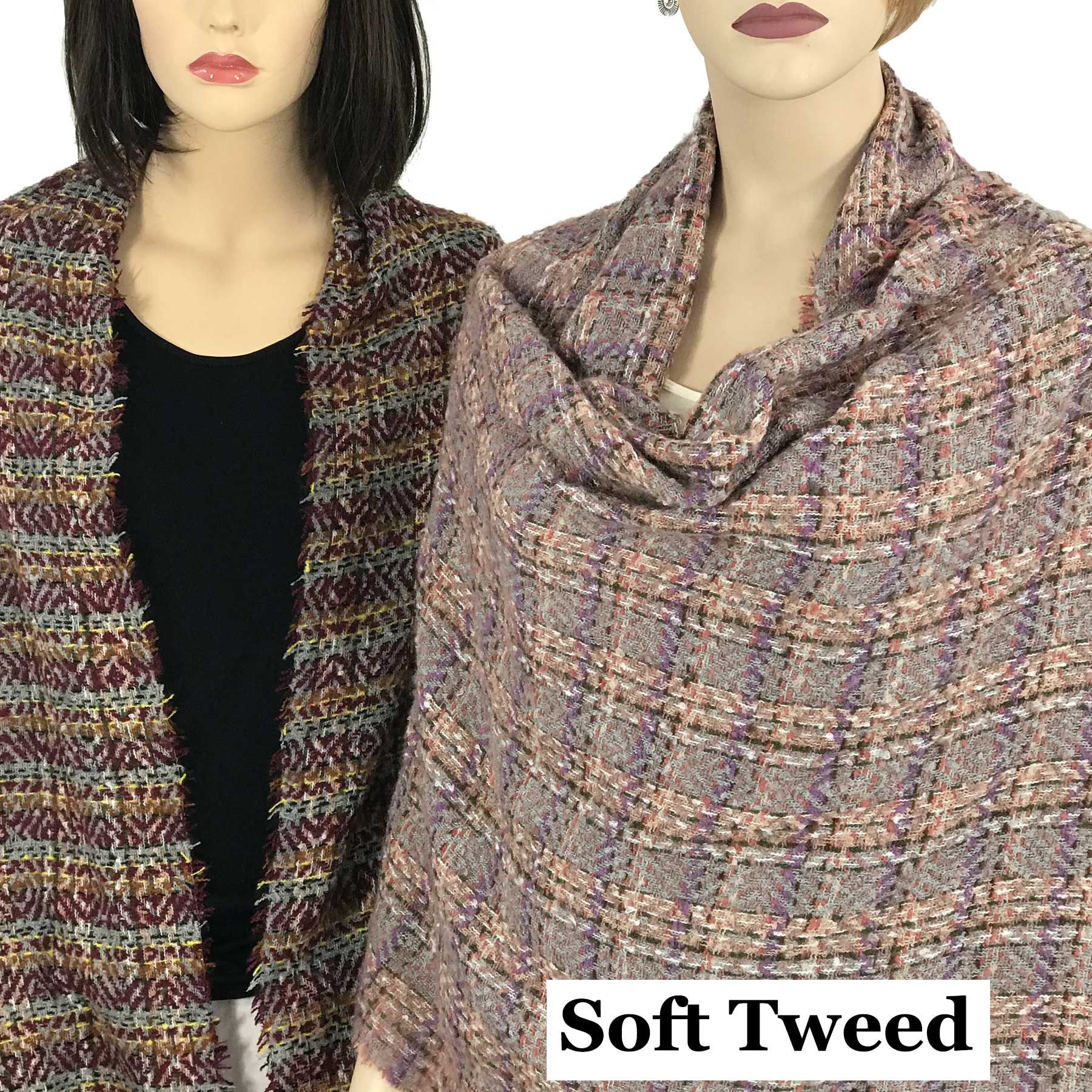 Oblong Scarves/Shawls - Multi Color Tweed 9540