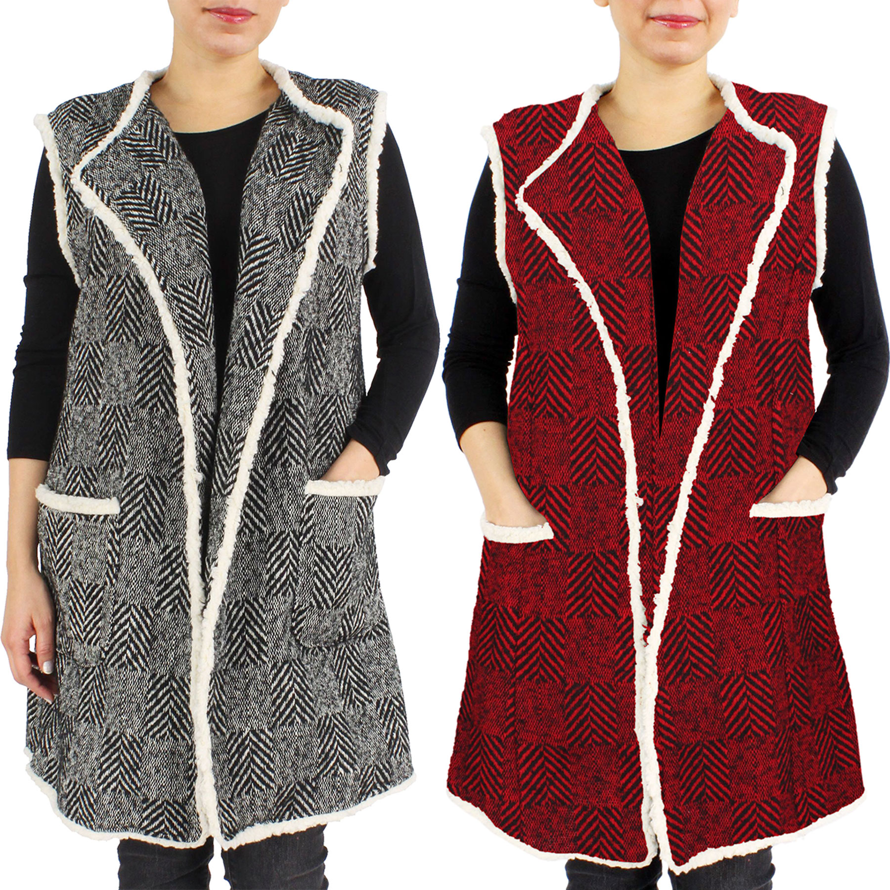 Vests - Herringbone w/ Fur Edge 9407