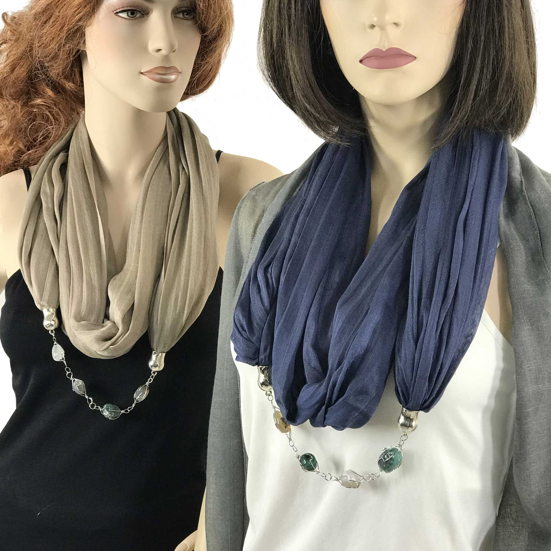 Jewelry Infinity Scarves - Cotton/Silk Blend 100