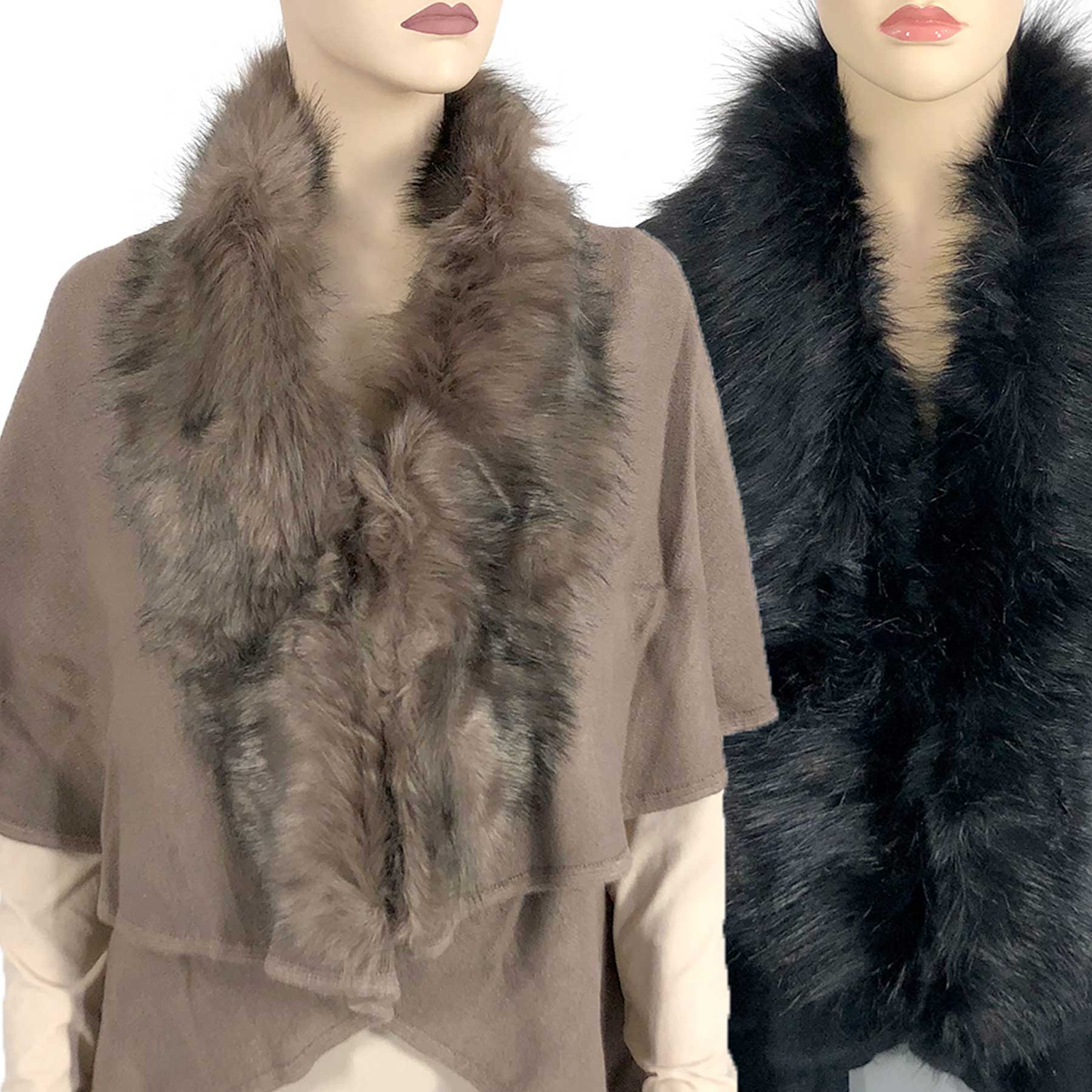 Cape Vests - Solid w/ Faux Fox Fur 93B9