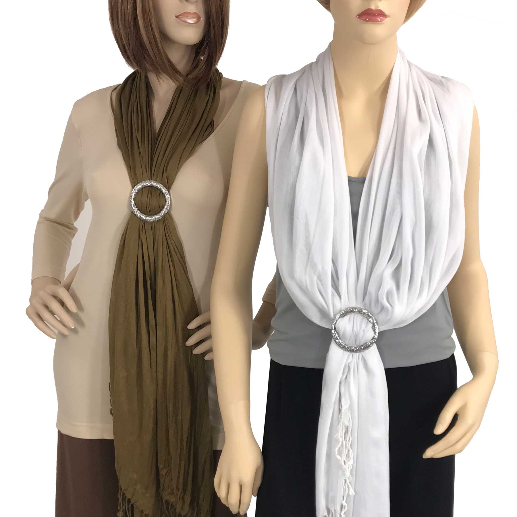Shawl - Cotton/Silk #100 with Scarf Buckle Ring