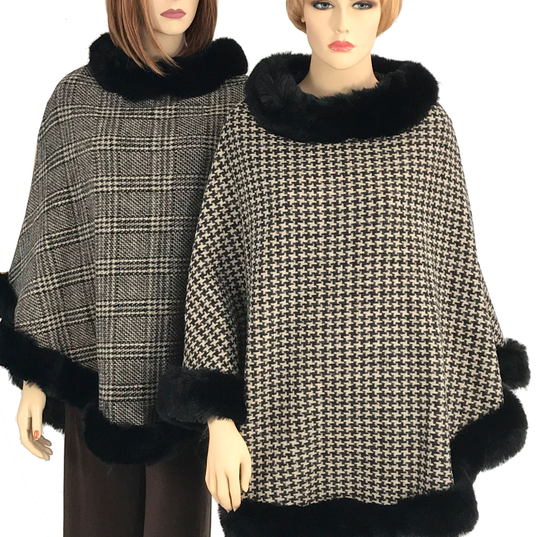 Poncho - Faux Rabbit Fur Trim LC12