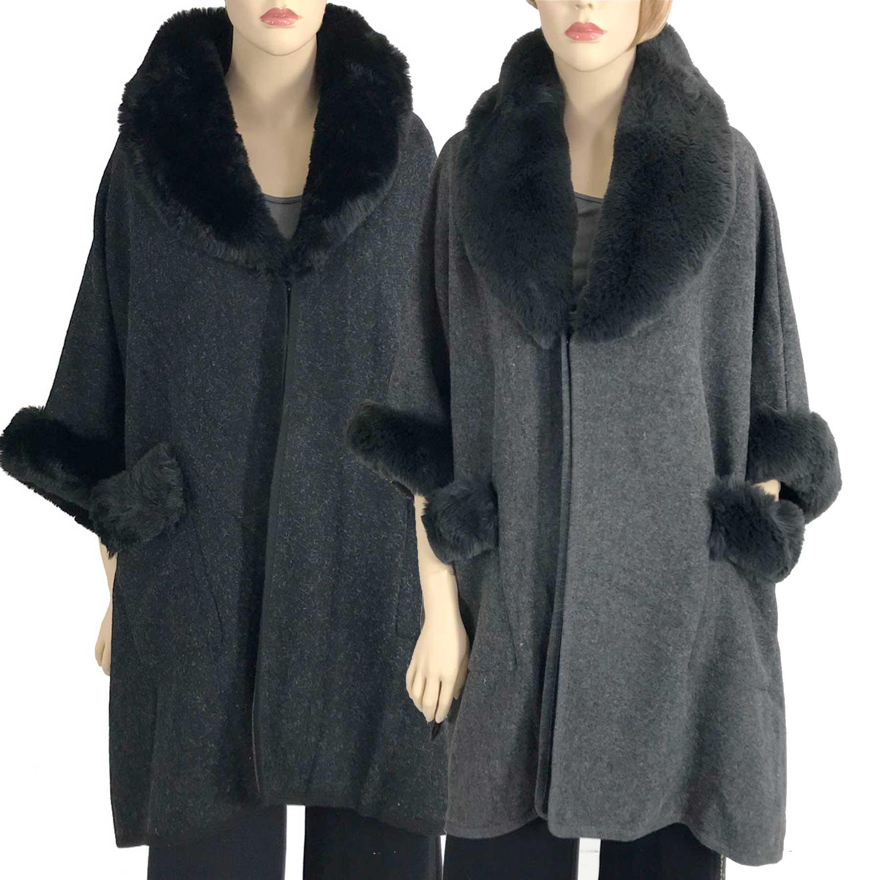 Cloaks - Faux Rabbit Fur Trim w/ Pockets LC13