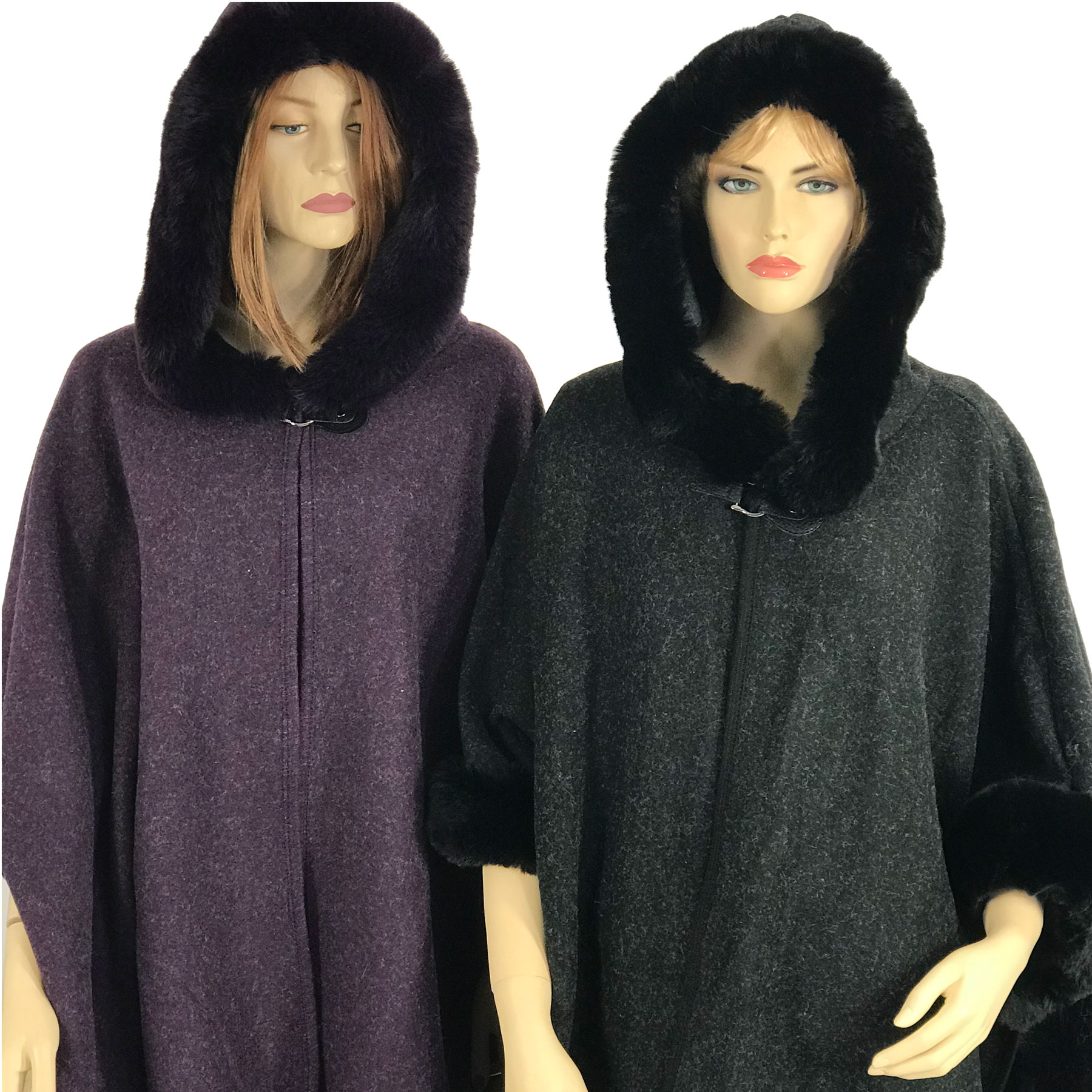 Cloaks - Hooded Faux Rabbit w/ Buckle Clasp LC14
