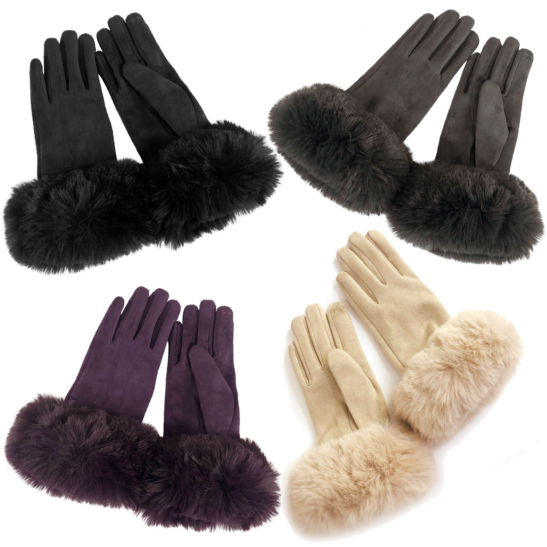 Gloves - Faux Rabbit Trim LC02