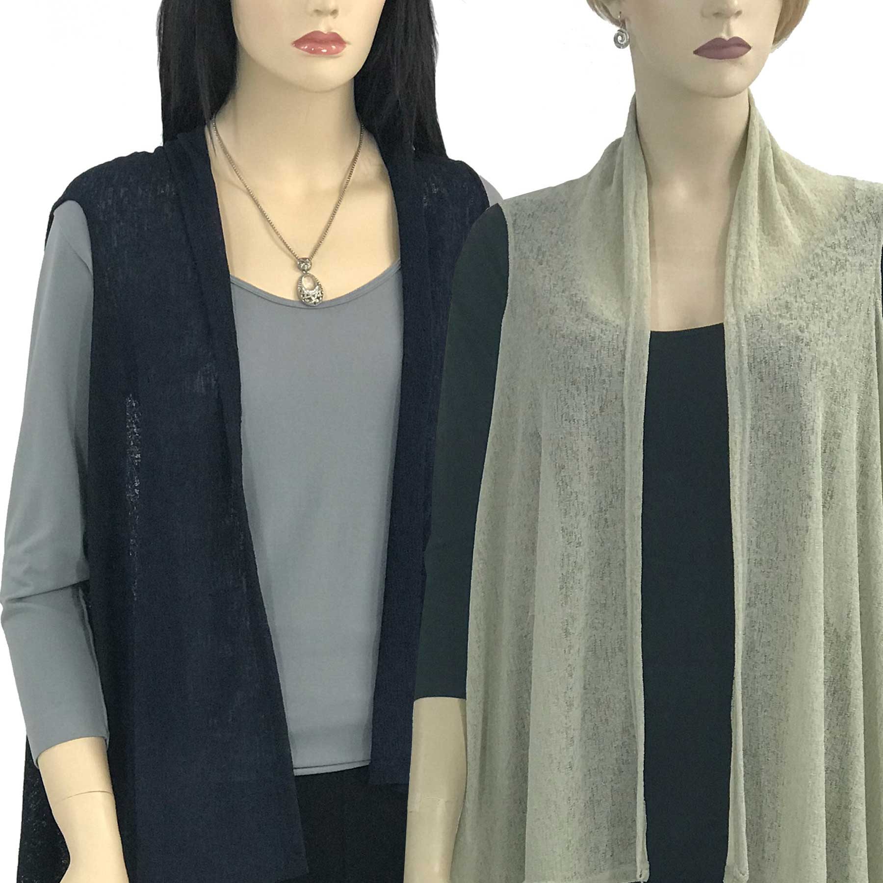 Jersey Knit Vests - Solid Color Texture 9718
