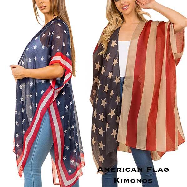 American Flag Kimono Vests