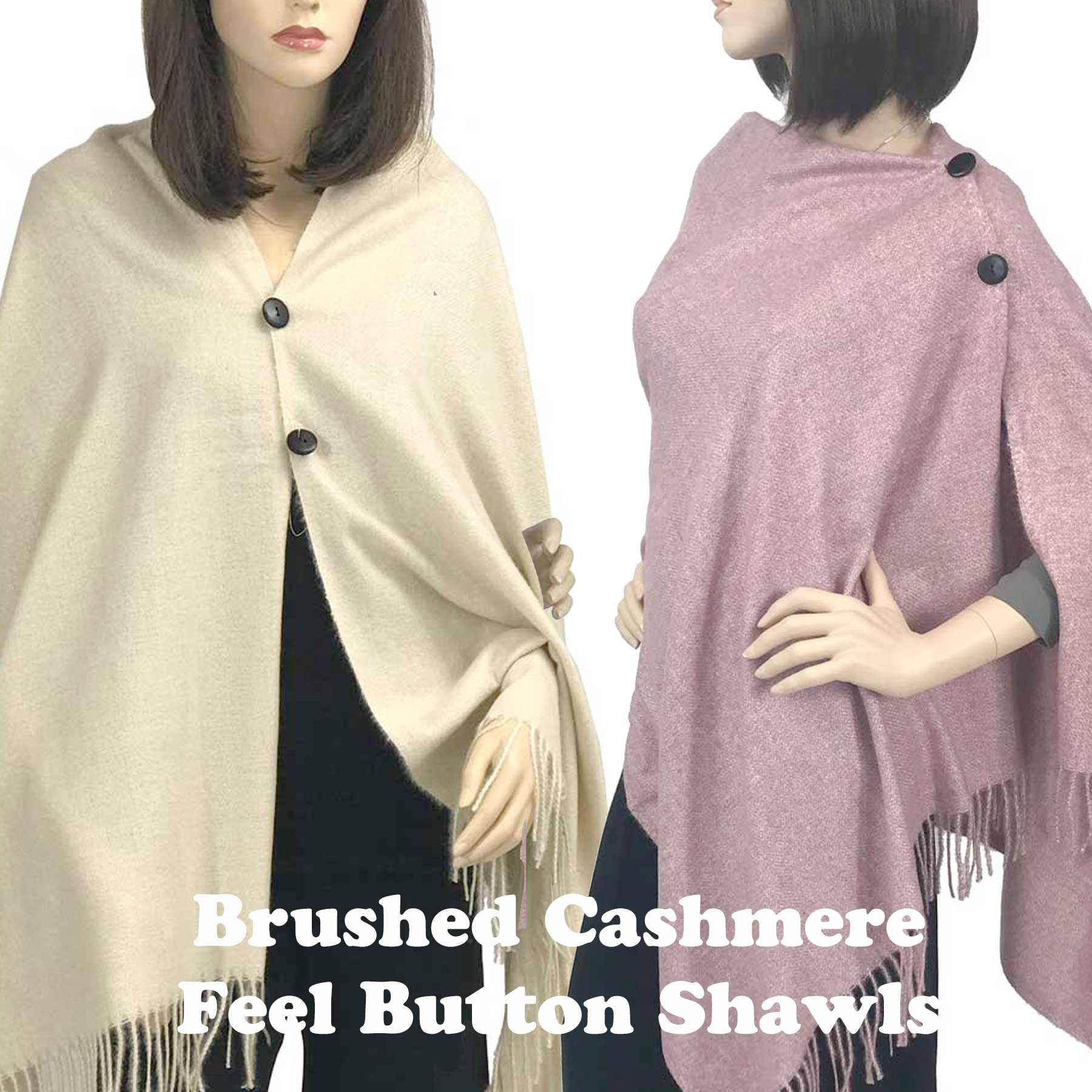 Button Poncho/Shawl - Brushed Cashmere Feel 3216