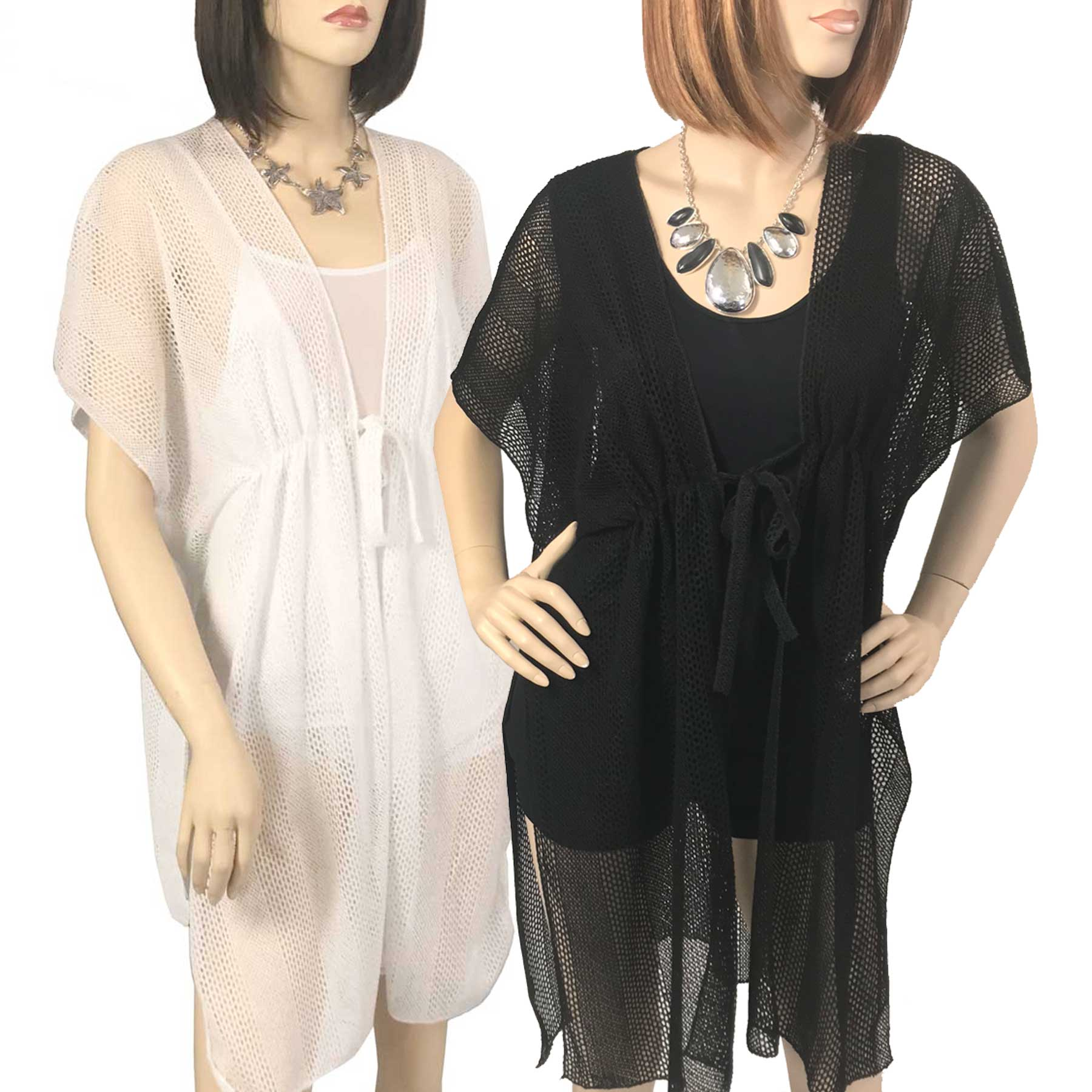 Kimono Style Cover-up - Crochet with Tie 1316