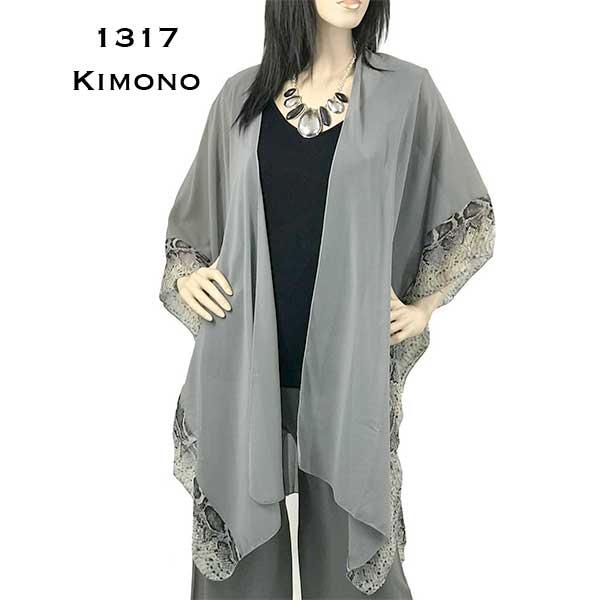 Chiffon Kimono - Solid w/ Reptile Border 1317